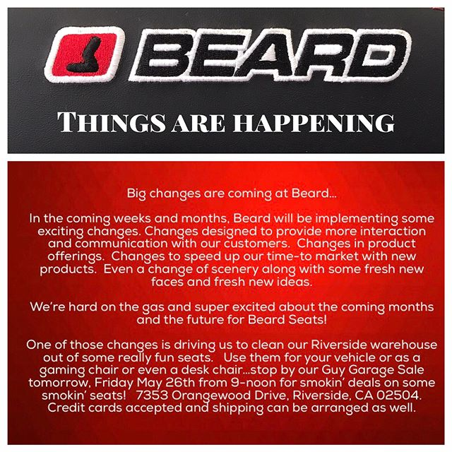 Stop by 5/26/17 at BEARD.  9-NOON....We have a lot of Show Seats we are selling for $100 each and a wide assortment of UTV accessories.  #hidlights #suspensions #tires #beardseats and more...we could be available Saturday morning also until 11 if anyone wants to come out.