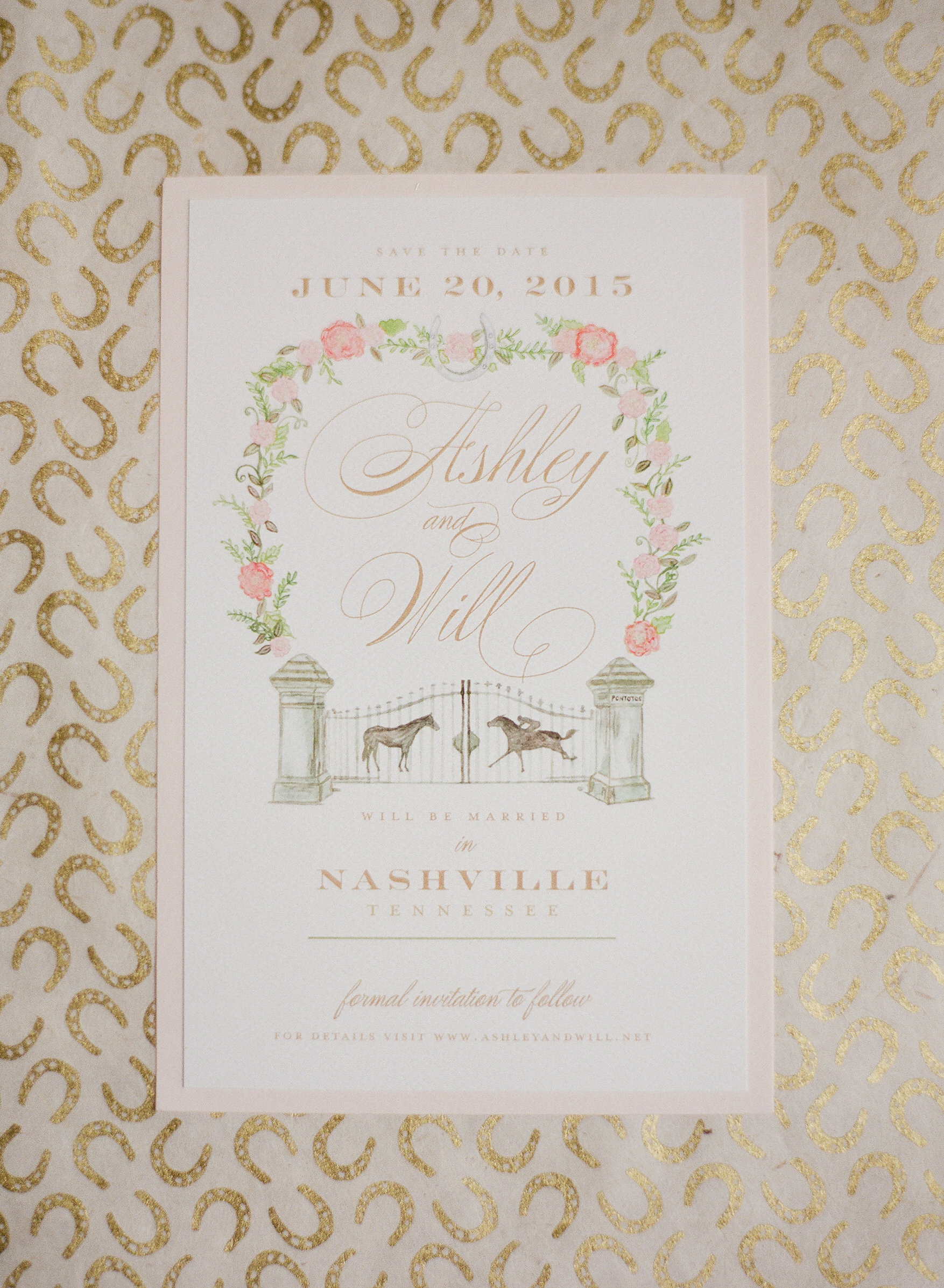 watercolor save the date with custom illustration of the gate at Pontotoc Farm