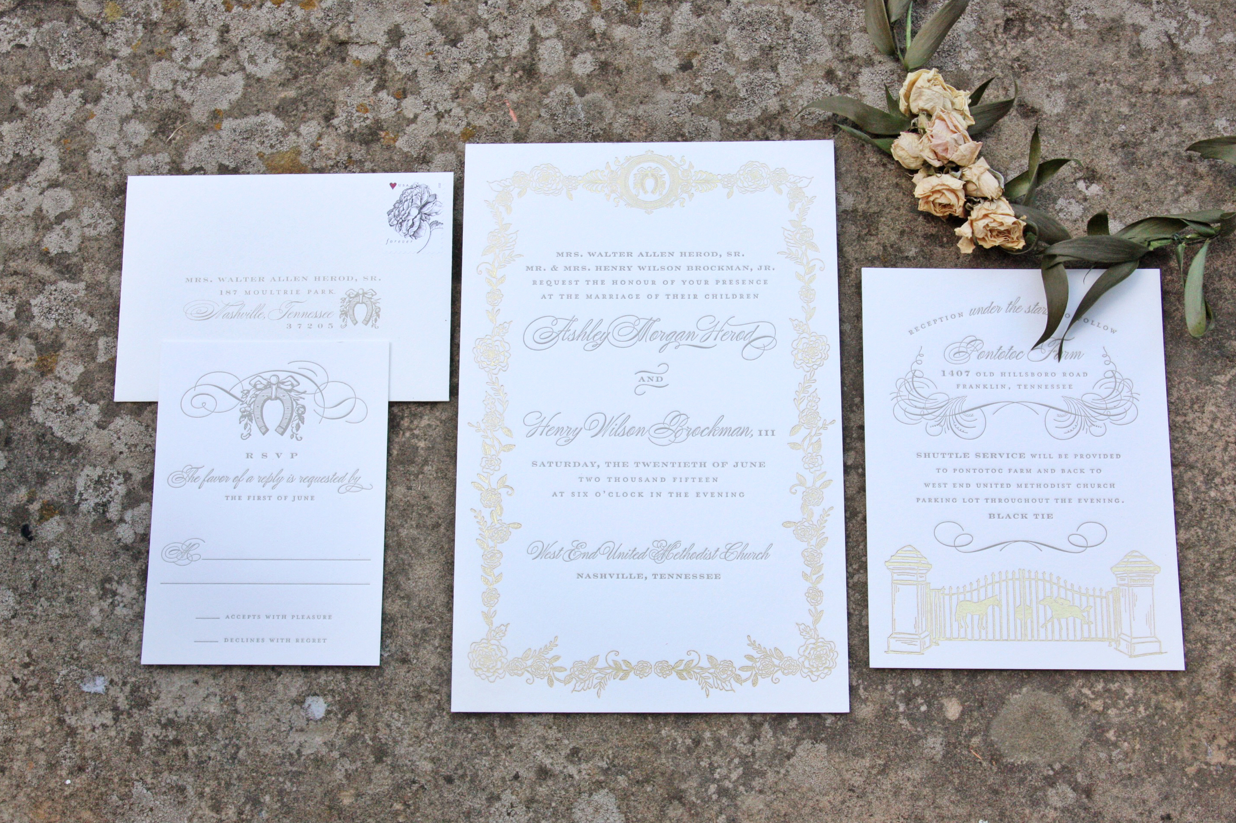 gray letterpress + gold foil illustrations on cranes lettra paper