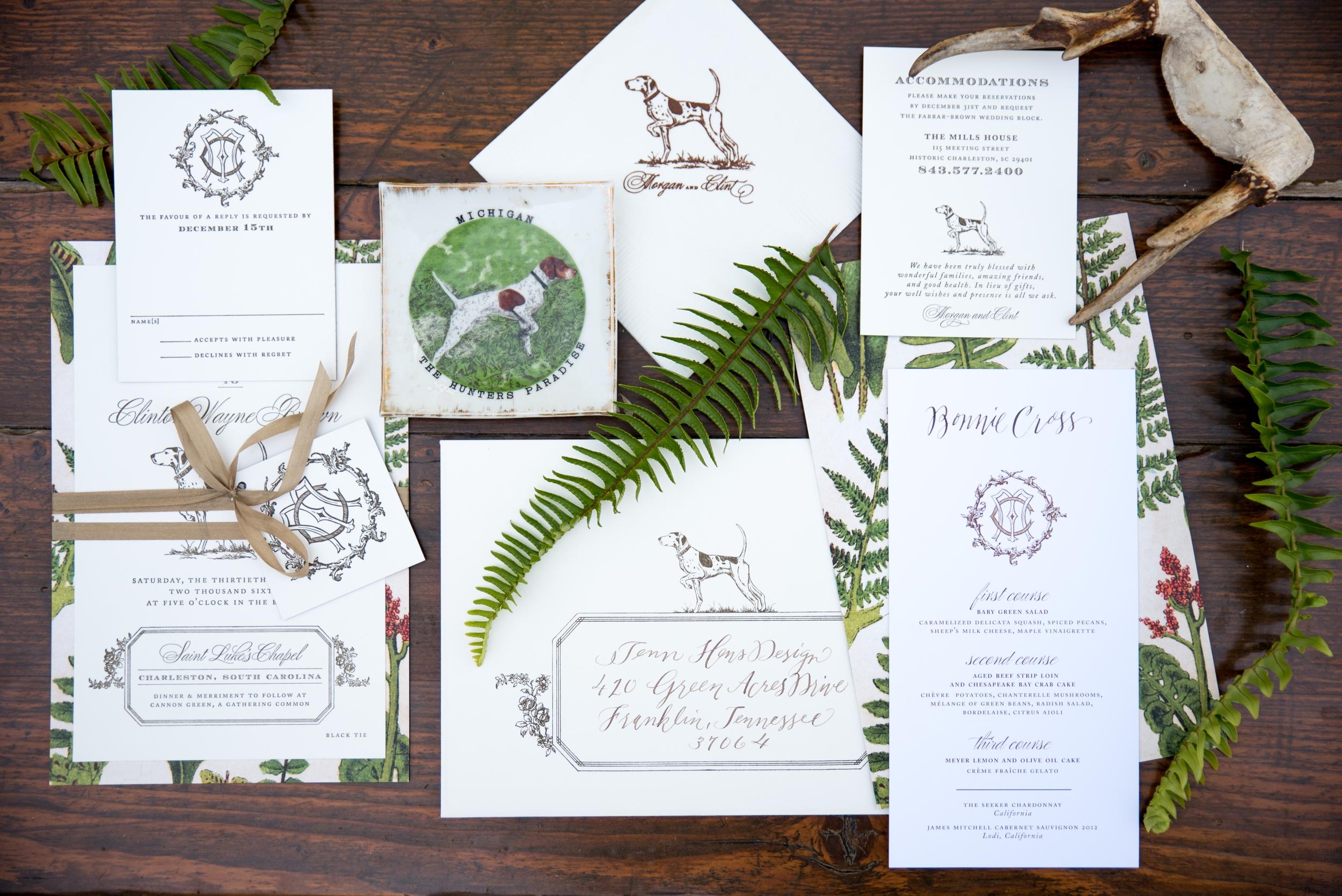 pointer dog wedding suite letterpress stationery