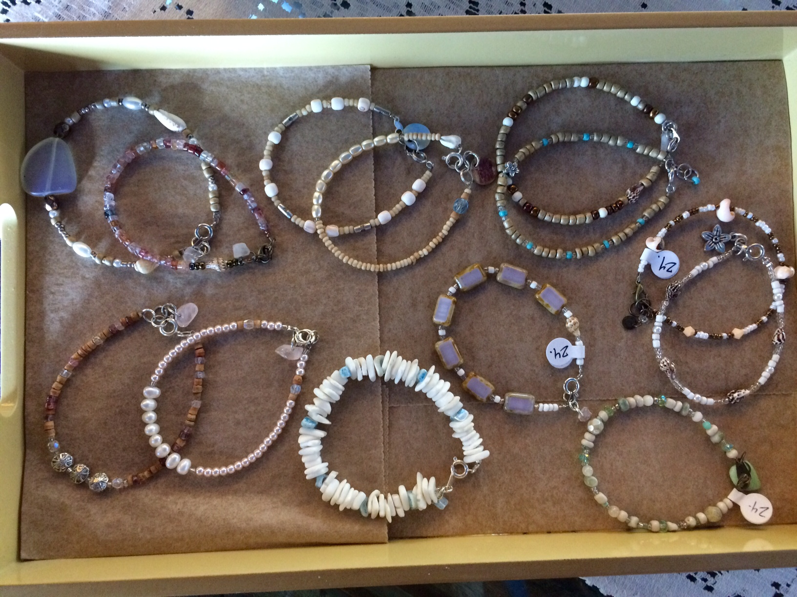 Mermaid Bracelets made with shells and other sea inspired beads.