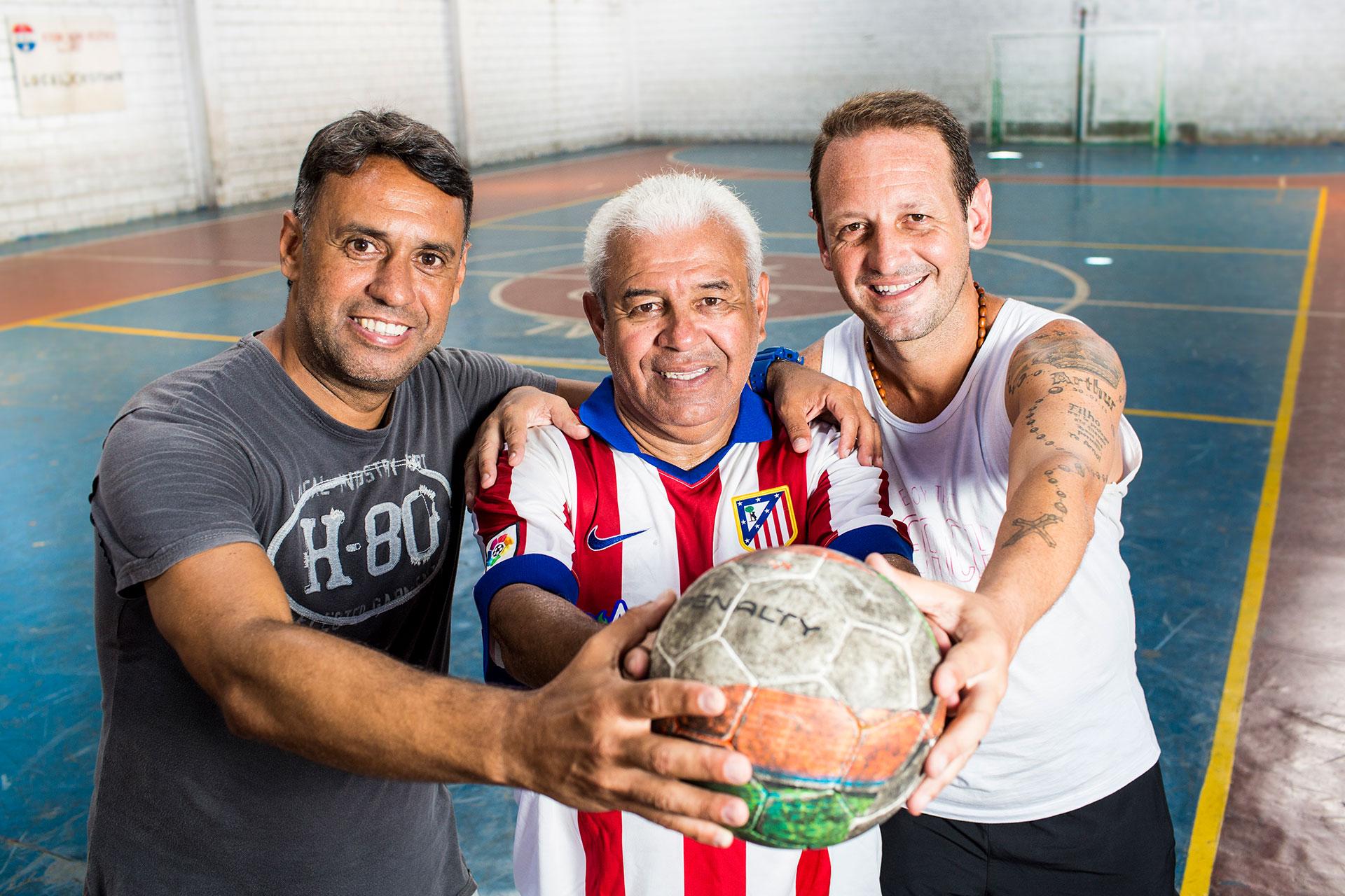 Os craques Octávio Bocão, Mauro Bandit e Felippe Orelha