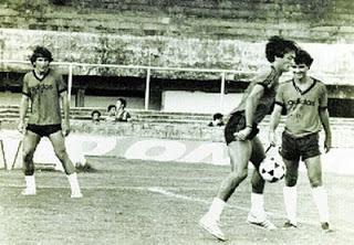 Zico, Leandro e Tita treinando no Castelão.