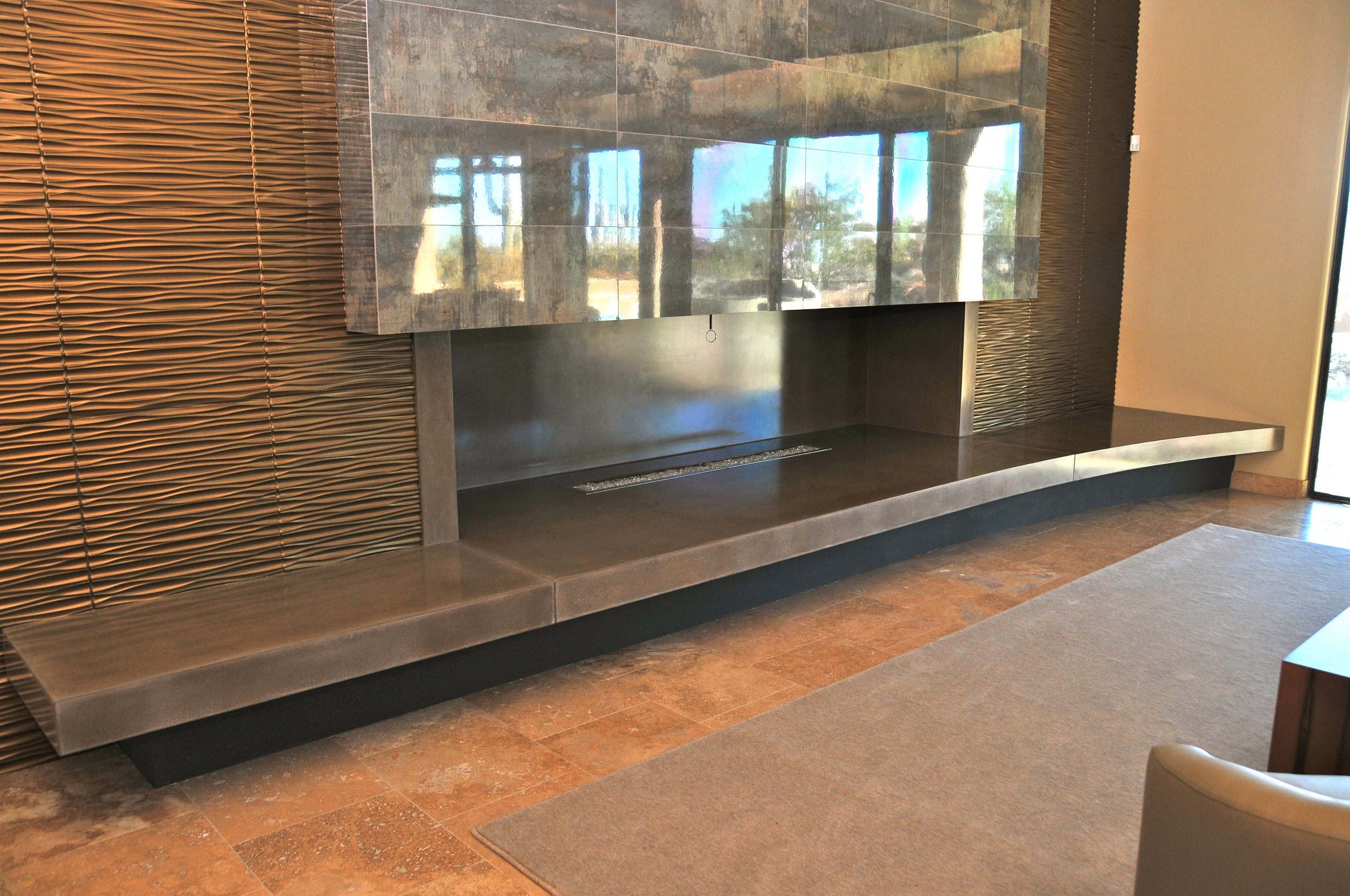 custom fireplace, concrete, stained concrete, custom, sitting area, nice concrete,