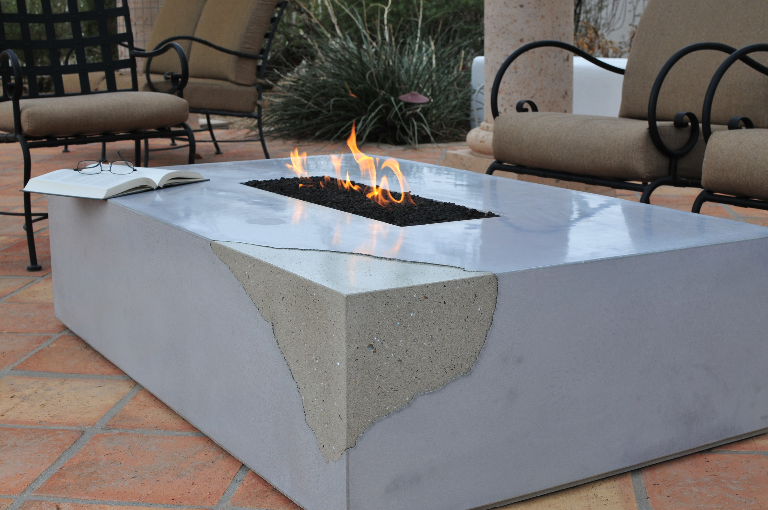 custom fireplace, concrete, chipped concrete, fire, Arizona, fireplace cap, scottsdale, chandler, phoenix