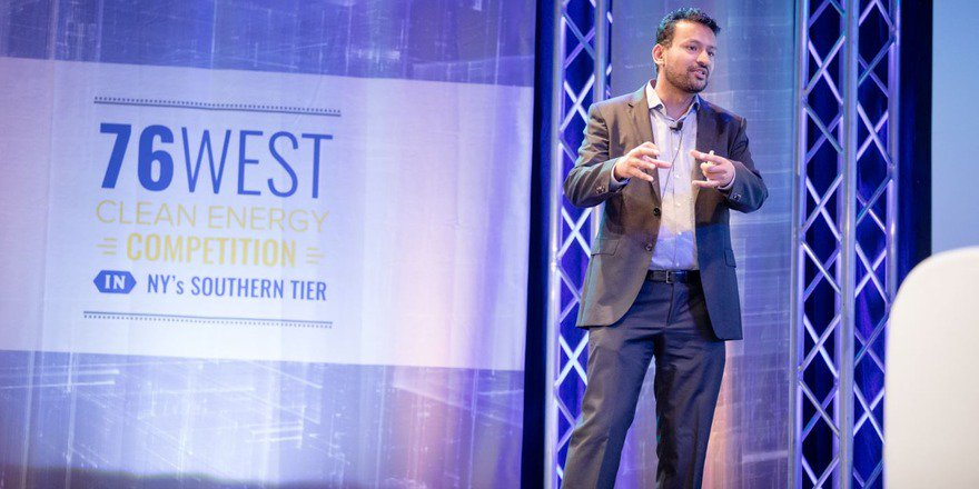 Skyven's CEO and Founder Dr. Arun Gupta at the 76West Finals. Photo credit Allison Usavage.