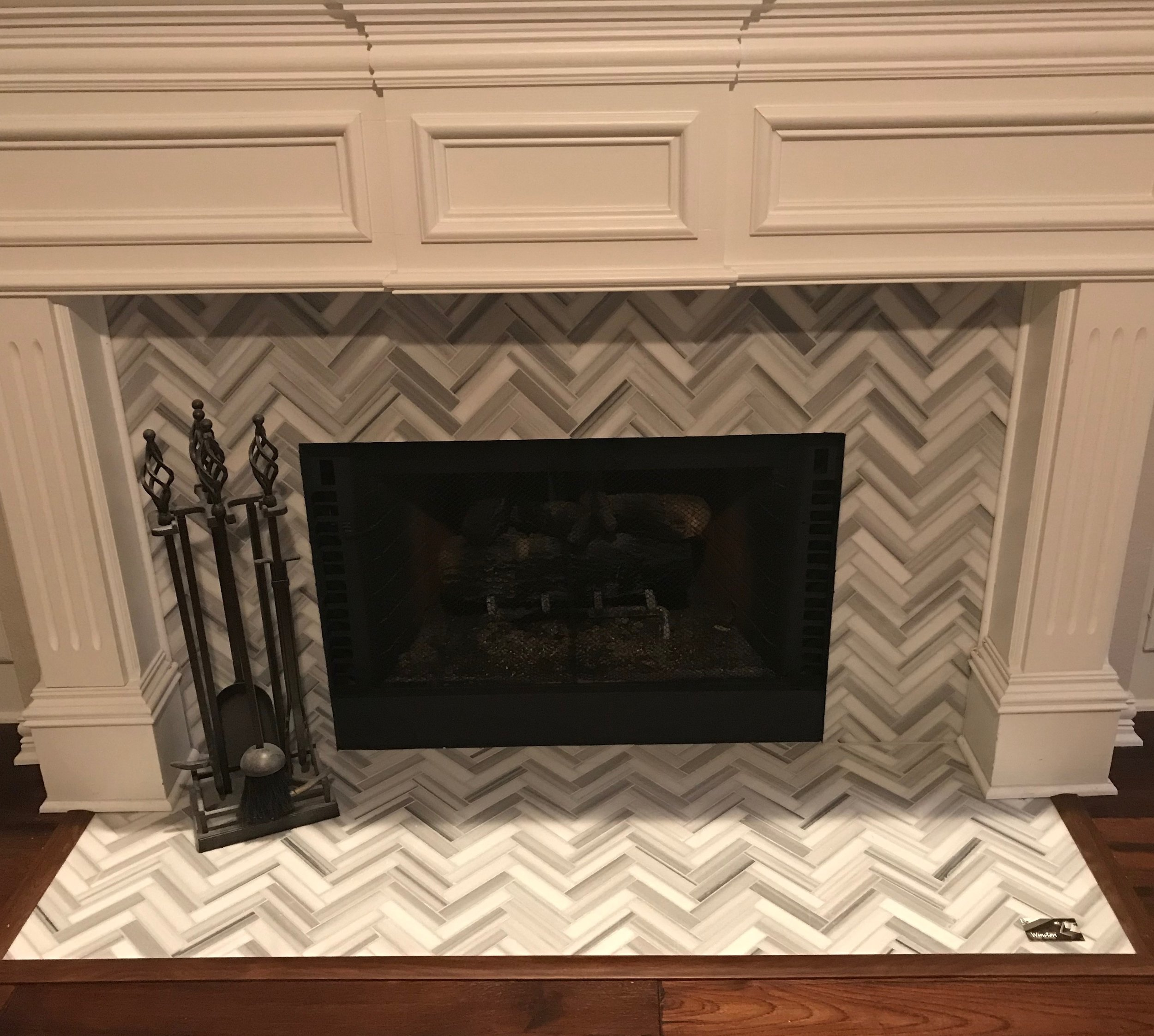 Marble Herringbone Fireplace