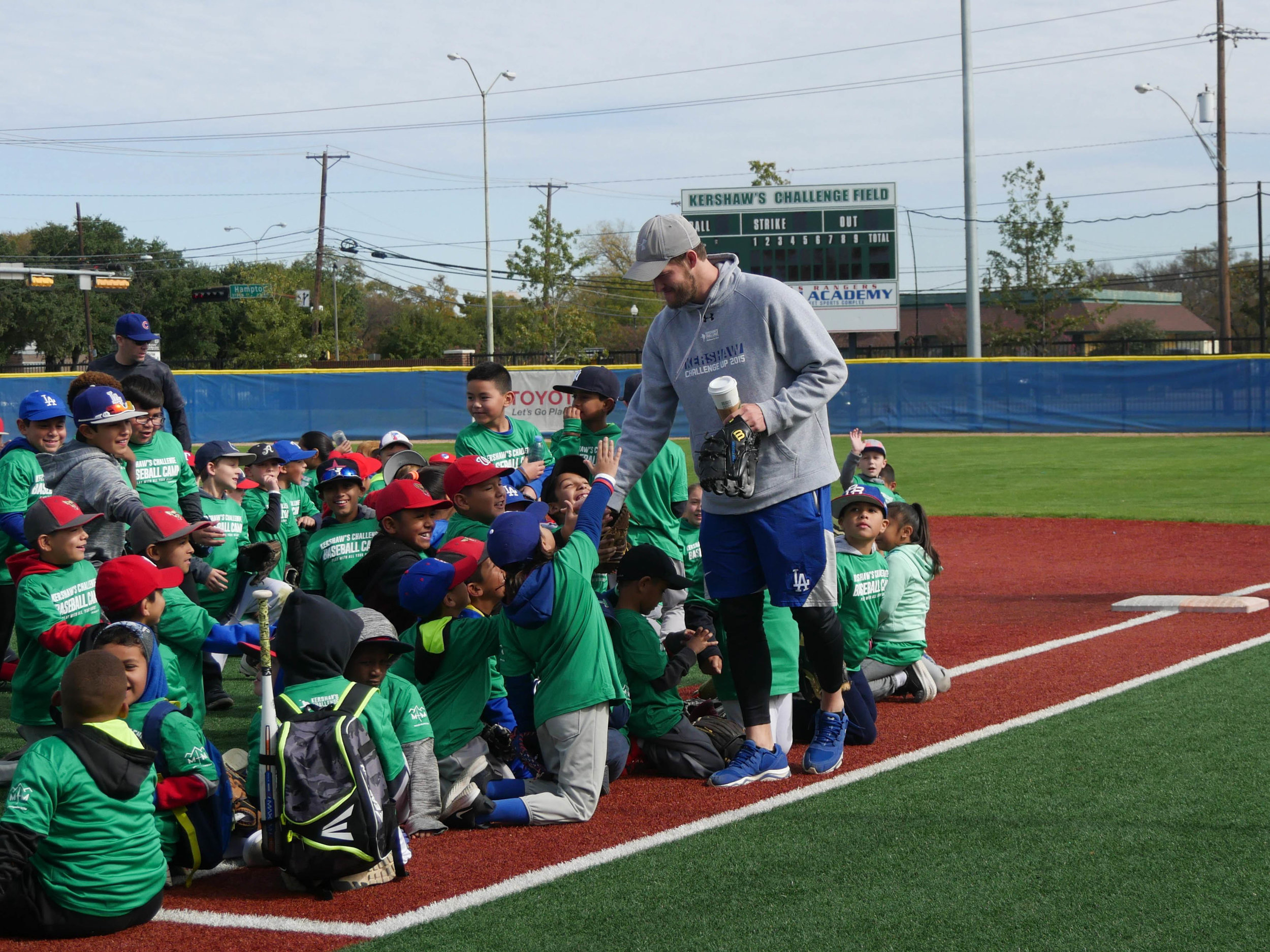 Kershaw greets campers upon his arrival.