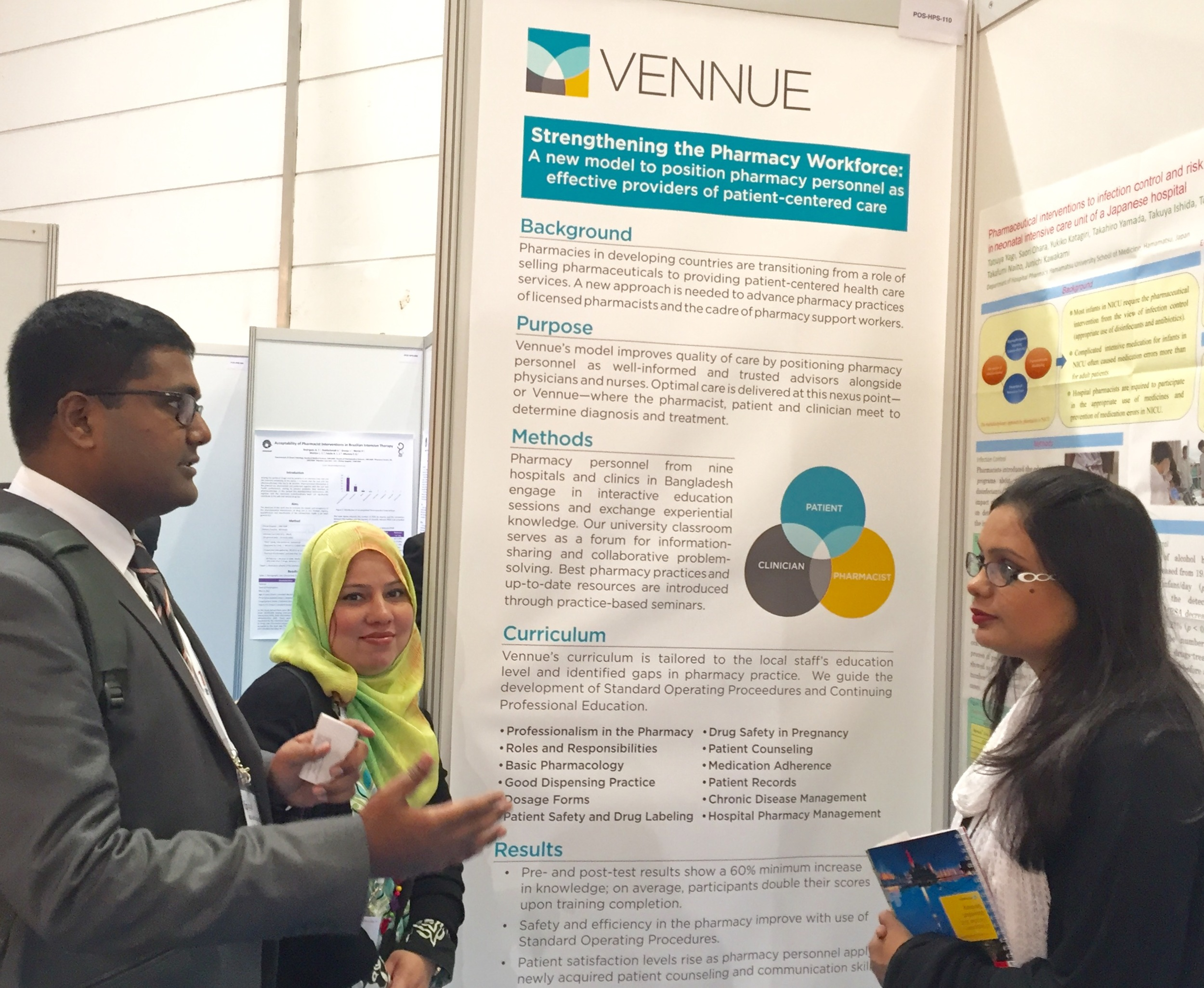 Bangladesh Country Director Mohammad Abusyed (far left) discusses Vennue's program model with university professors from Pakistan.