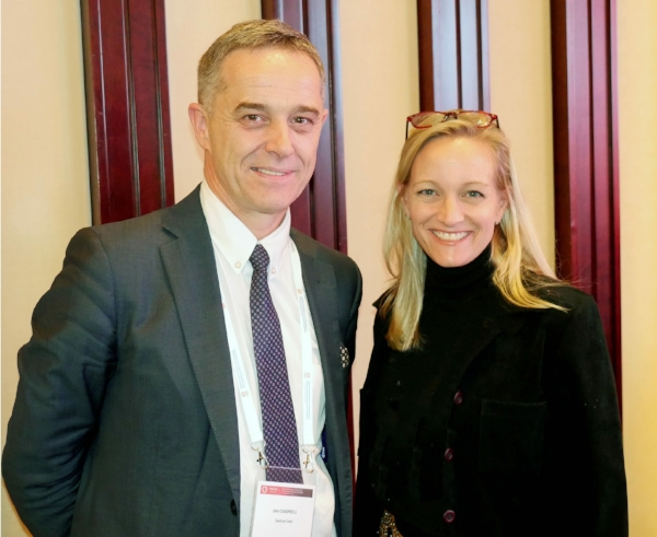 Vennue's Tammy Allen with the WHO's Jim Campbell at a pharmacy workforce conference in Nanjing, China.
