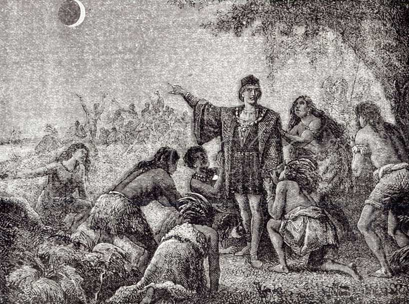 Christopher Columbus Amazing Native Americans with a Solar Eclipse