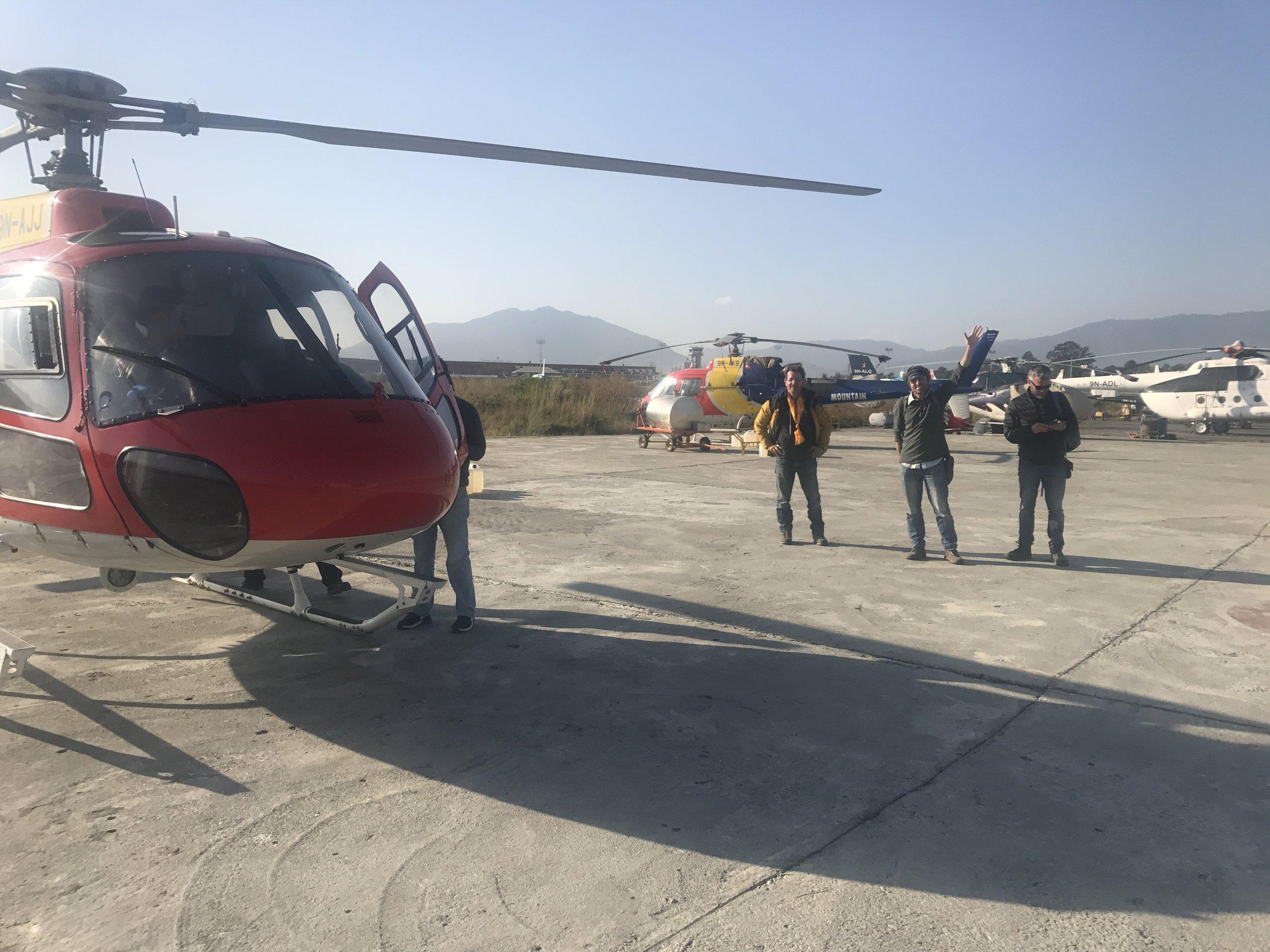 Helicopter Landing in Kathmandu