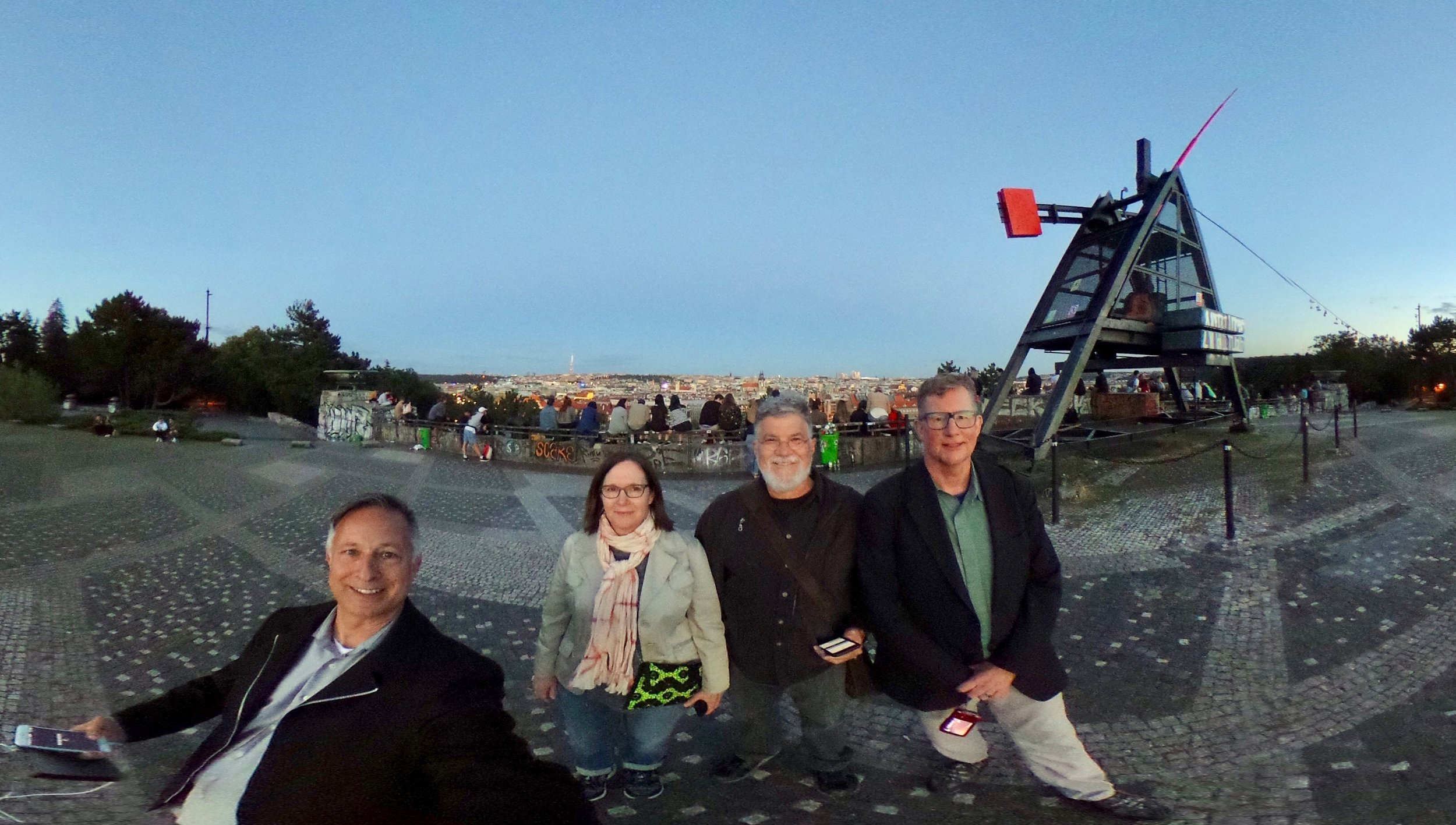 Tour co-collaborators: Mark, Rebecca, Andy, and Dana's atop the Metronome hill.  Farewell evening in Prague.