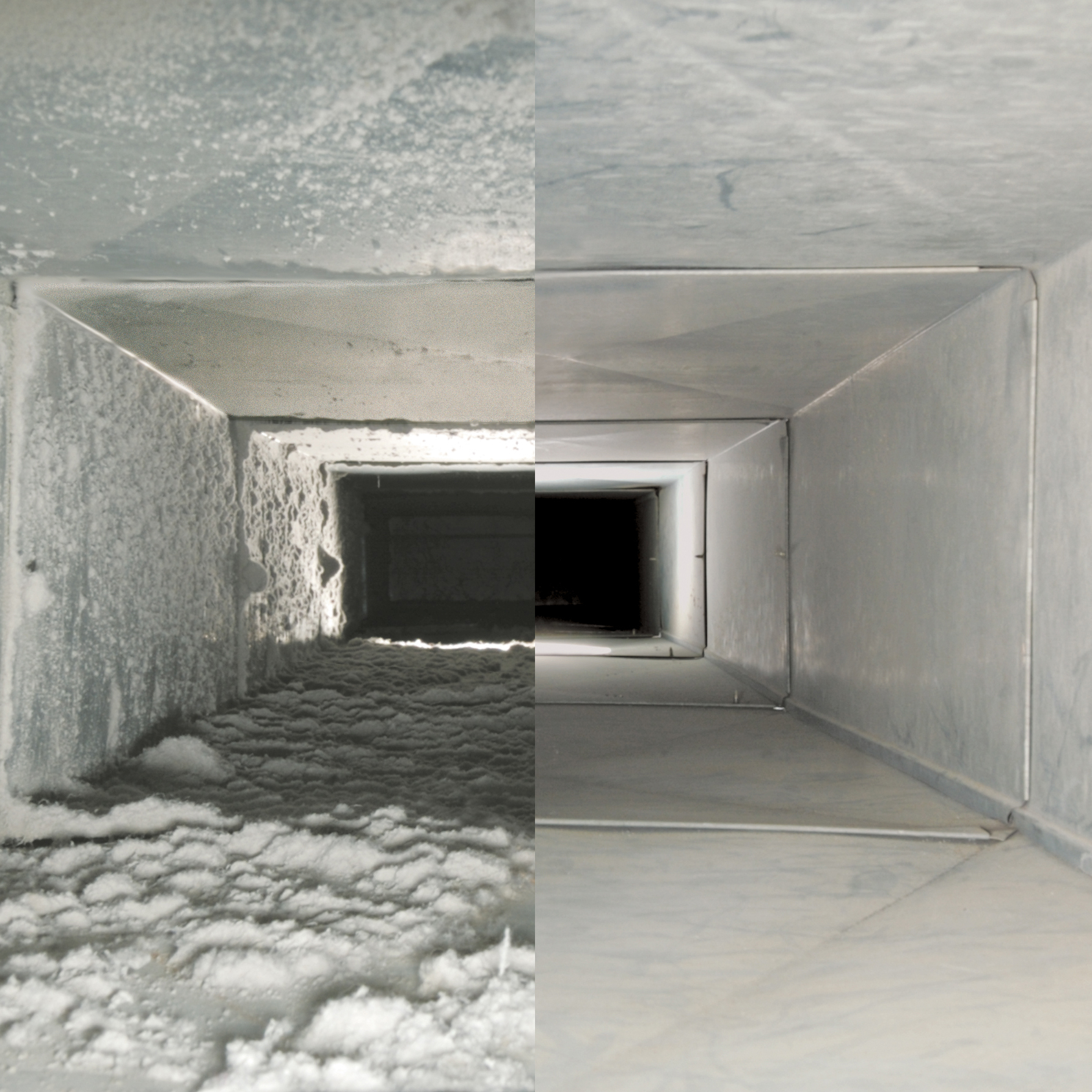 Dust is everywhere all the time. Regardless what type of HVAC air filter used, over time your ducts are likely to look like the left side of the above photo or worse. Every indoor air environment is different and subject to different factors contributing to the the dust and debris that builds up within the ductwork. In certain instances mold can impact the ductwork as well as the system itself. We specialize in duct cleaning, sanitization and remediation.