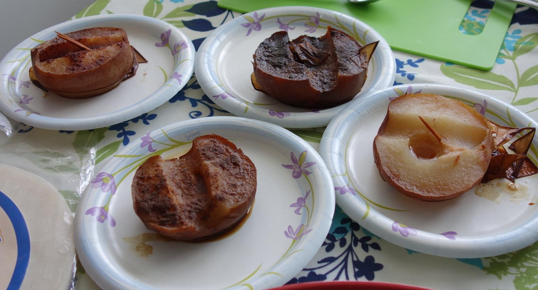 top left: cinnamon asian pear, top right: blackstrap molasses asian pear, bottom left: five spice asian pear, bottom right: honey asian pear