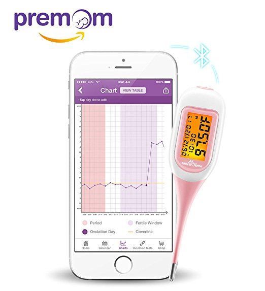 Premom Ovulation Predictor - App Integrated Easy Smart Basal Thermometer – Simplest Ovulation and Period Tracker With Auto BBT Sync, Charting, Coverline And Accurate Fertility Prediction, EBT-300