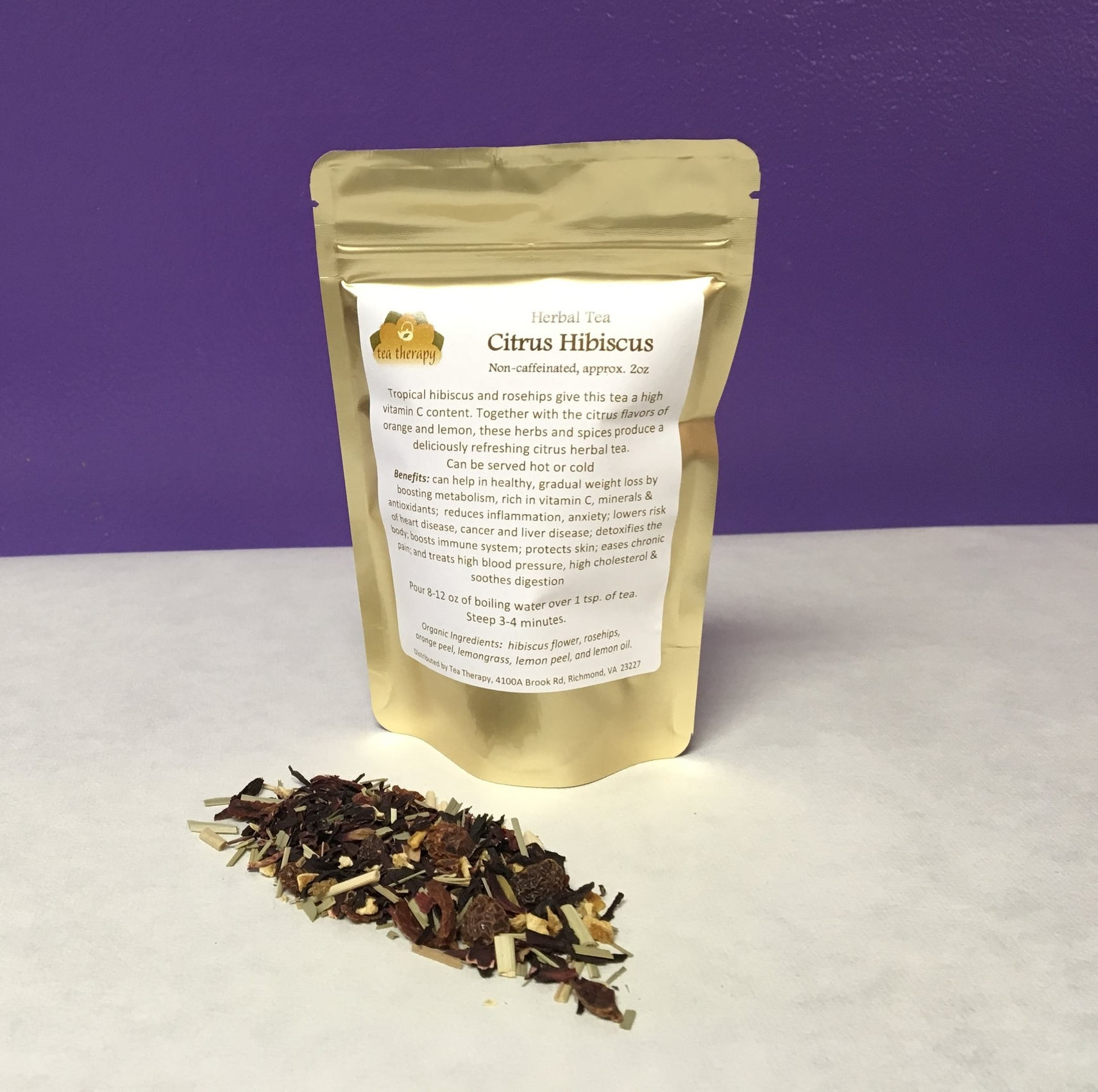 Citrus Hibiscus - Herbal tea – non-caffeinated - Tropical hibiscus and rosehips give this tea a high vitamin C content. Together with the citrus flavors of orange and lemon, these herbs and spices produce a deliciously refreshing citrus herbal tea. Can be served hot or cold. Benefits: can help in healthy, gradual weight loss by boosting metabolism, rich in vitamin C, minerals & antioxidants; reduces inflammation, anxiety; lowers risk of heart disease, cancer and liver disease; detoxifies the body; boosts immune system; protects skin; eases chronic pain; and treats high blood pressure, high cholesterol & soothes digestion Organic Ingredients: hibiscus flower, rosehips, orange peel, lemongrass, lemon peel, and lemon oil.