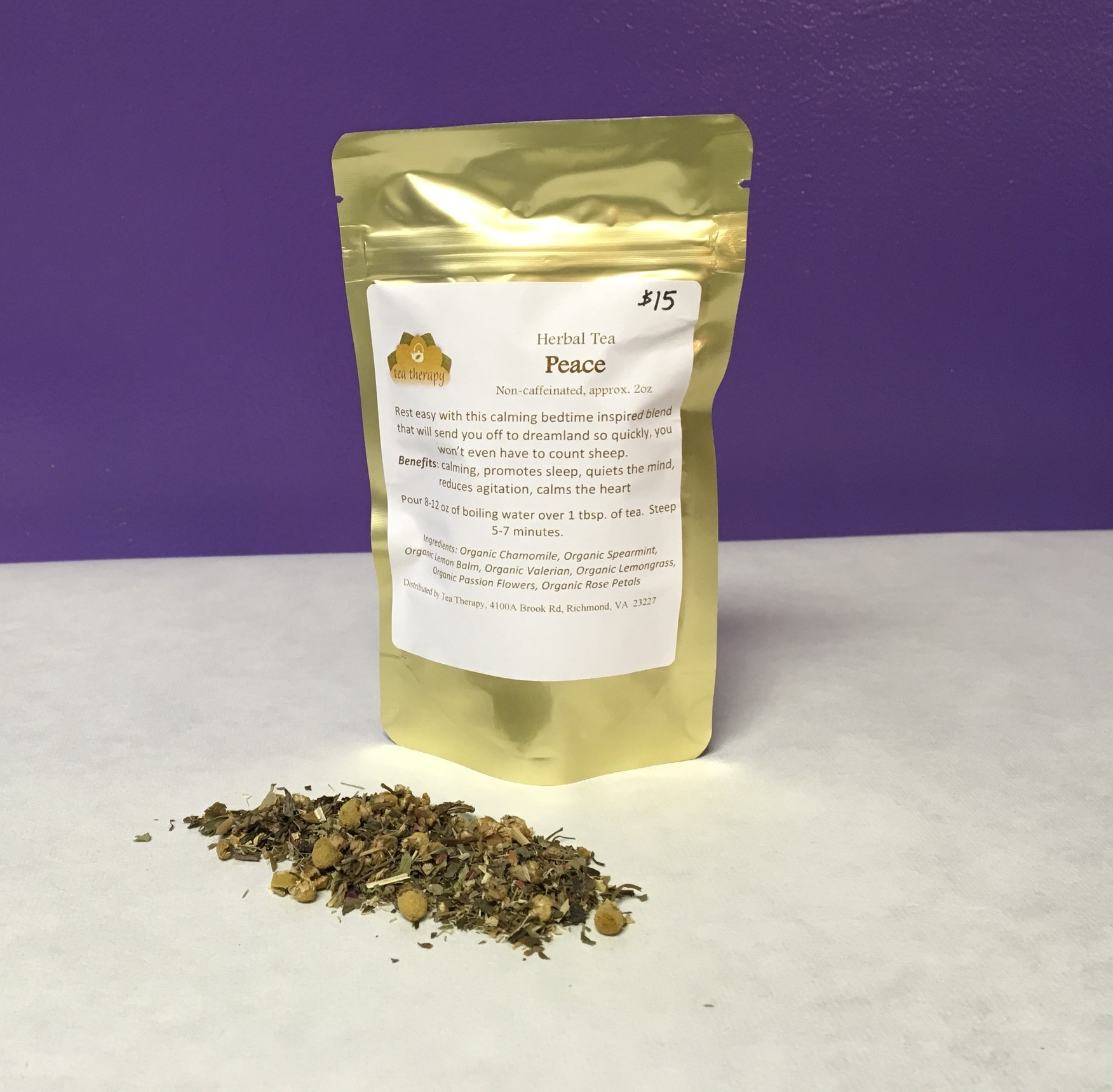 Peace - Herbal tea – non-caffeinated - Rest easy with this calming bedtime inspired blend that will send you off to dreamland so quickly, you won't even have to count sheep. Benefits: calming, promotes sleep, quiets the mind, reduces agitation, calms the heart. Ingredients: Organic Chamomile, Organic Spearmint, Organic Lemon Balm, Organic Valerian, Organic Lemongrass, Organic Passion Flowers, Organic Rose Petals