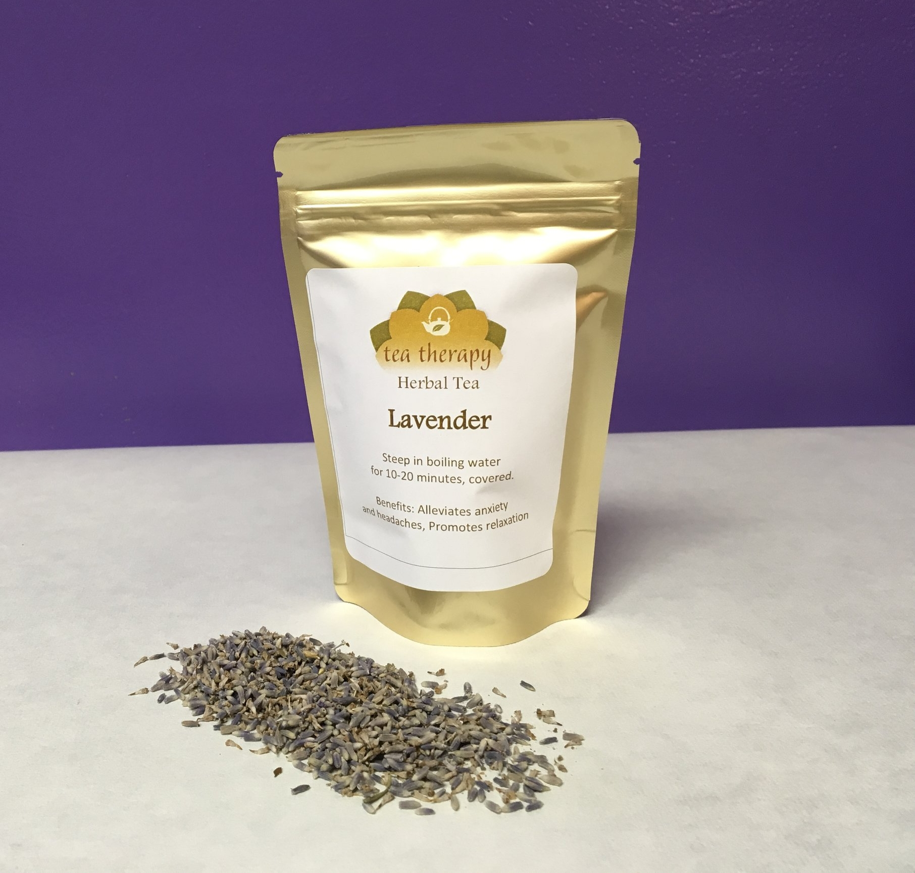 Lavender - Herbal tea – non-caffeinated – Benefits: Alleviates anxiety and headaches, promotes relaxation.