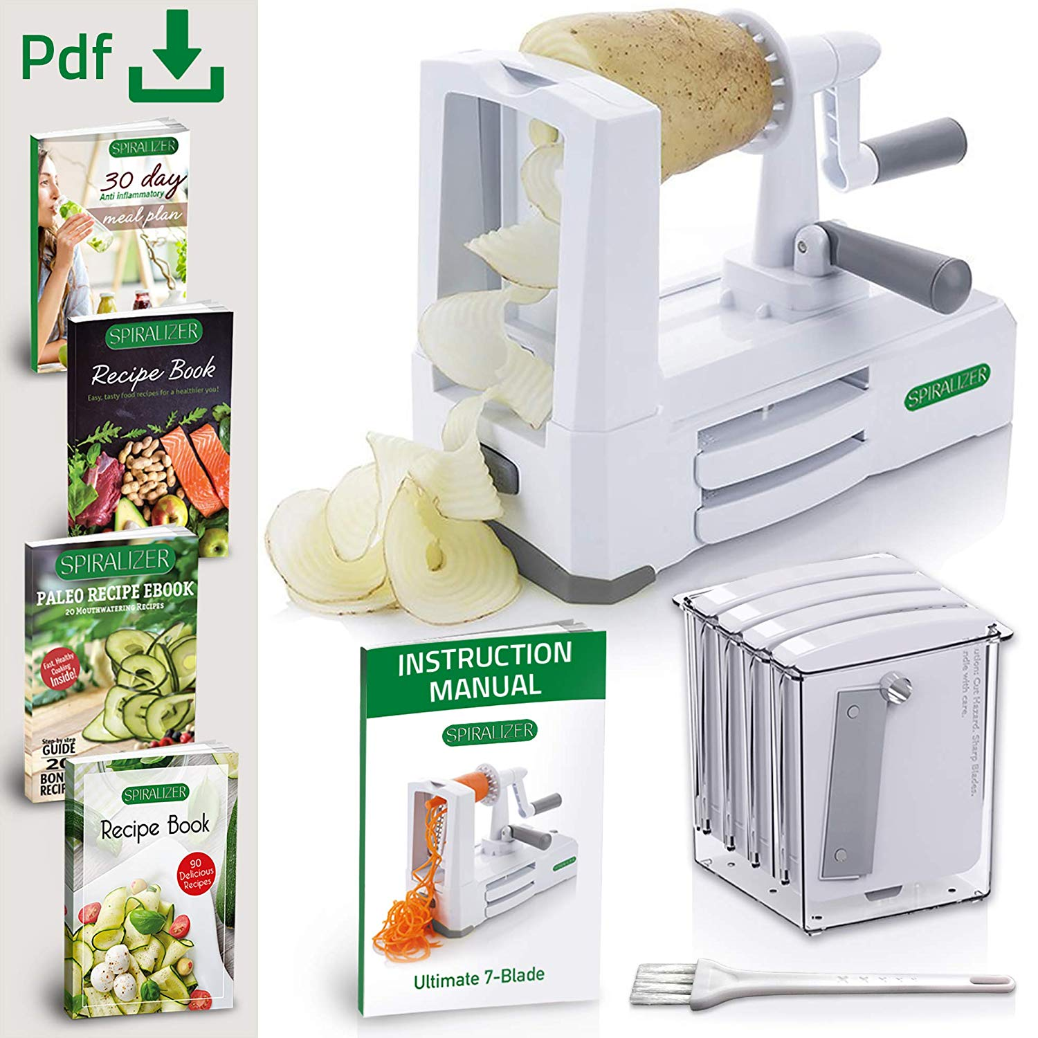 Spiralizer Ultimate 7-Blade Vegetable Slicer - Beautifully shred, slice and chip most firm vegetables and fruits. Perfect for making quick low carb, healthy veggie noodles from firm fruits/veggies like apple, onion, carrot, zucchini, cucumber, cabbage, beet, & more.