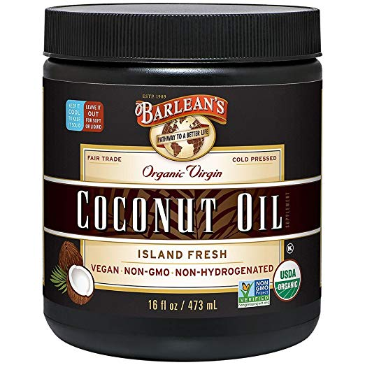 Barlean's Organic Virgin Coconut Oil, 16-oz - USDA Organic, Non-GMO verified, Non-Hydrogenated, Solvent and Chemical-Free, Kosher, Vegan