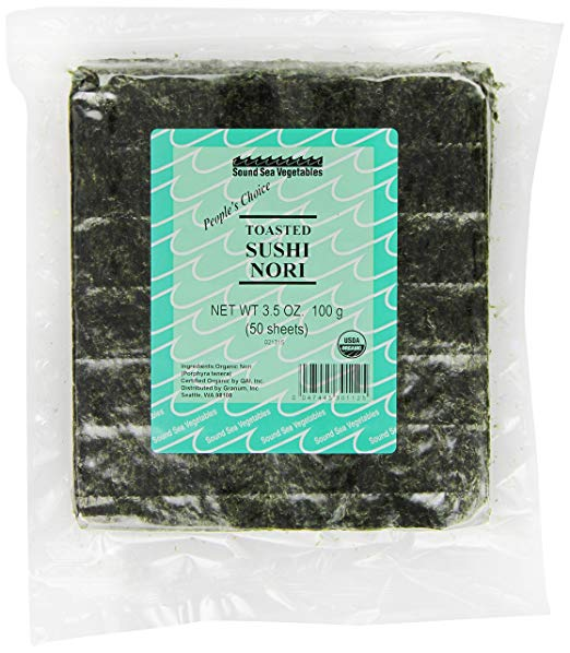 Organic Toasted Sushi Nori (Bulk), 50 Sheets - 50 sheet bulk size for greater value; resealable package for lasting freshness