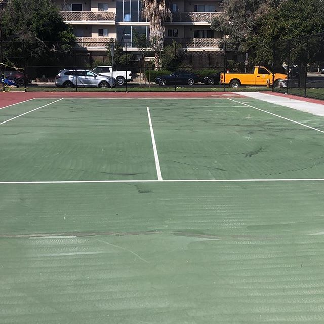 """CHECK IT OUT, THE BEFORE AND AFTER!Four newly renovated tennis courts by the Childs Play Surfacing Division. """"building better communities""""."""