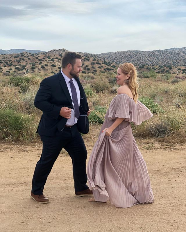 Desert dancing with this handsome man. 🌵🌸🖤 We spent the weekend celebrating love with some of our best friends and it was magical. ✨ My dress is @vicidolls but you can find all my accessories here http://liketk.it/2BX35 and at the link in my bio.  @liketoknow.it #liketkit #trustyourcloset #desertstyle #weddingseason #vicidolls