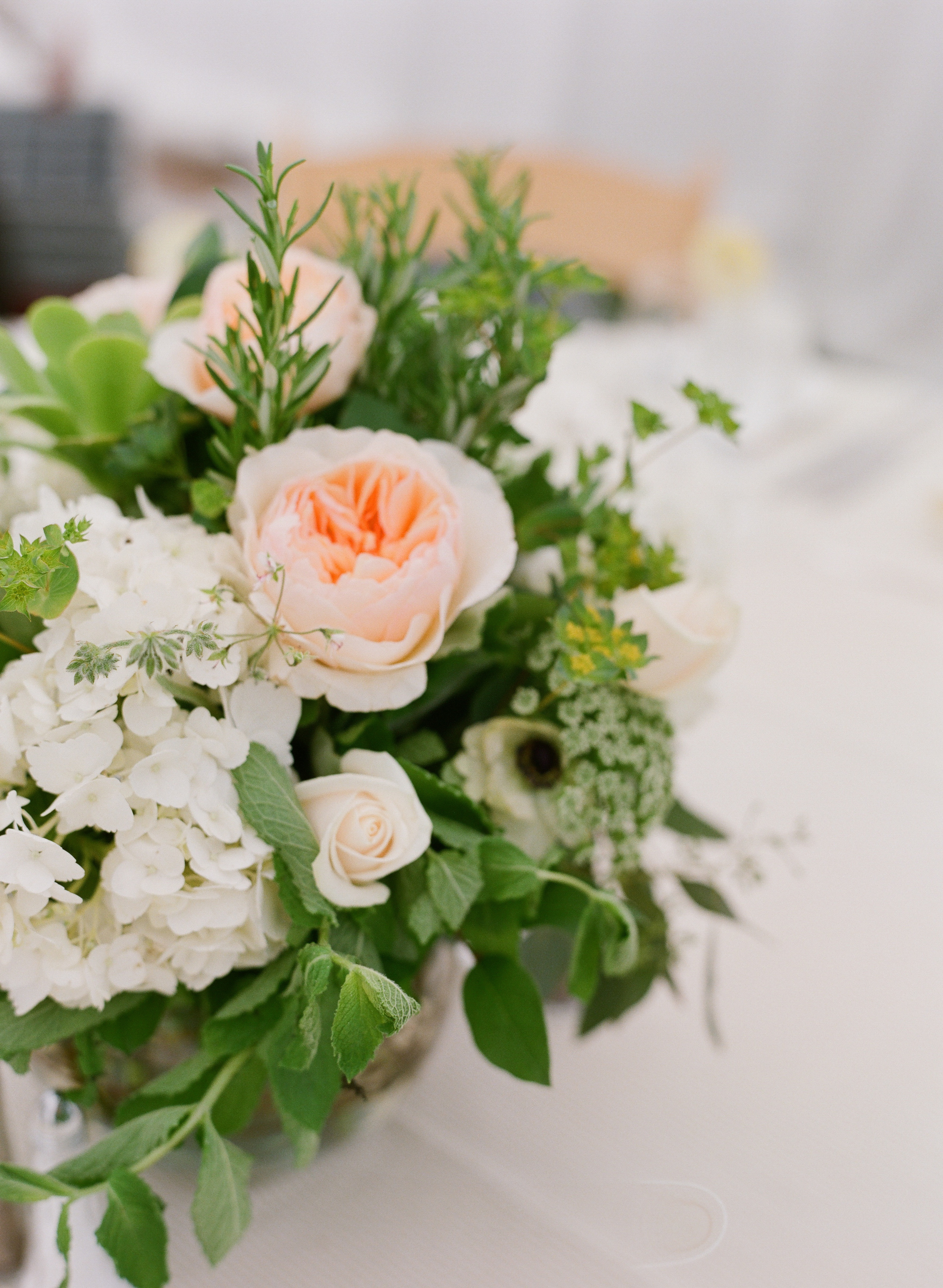White and Blush Centerpieces - Hoste Events