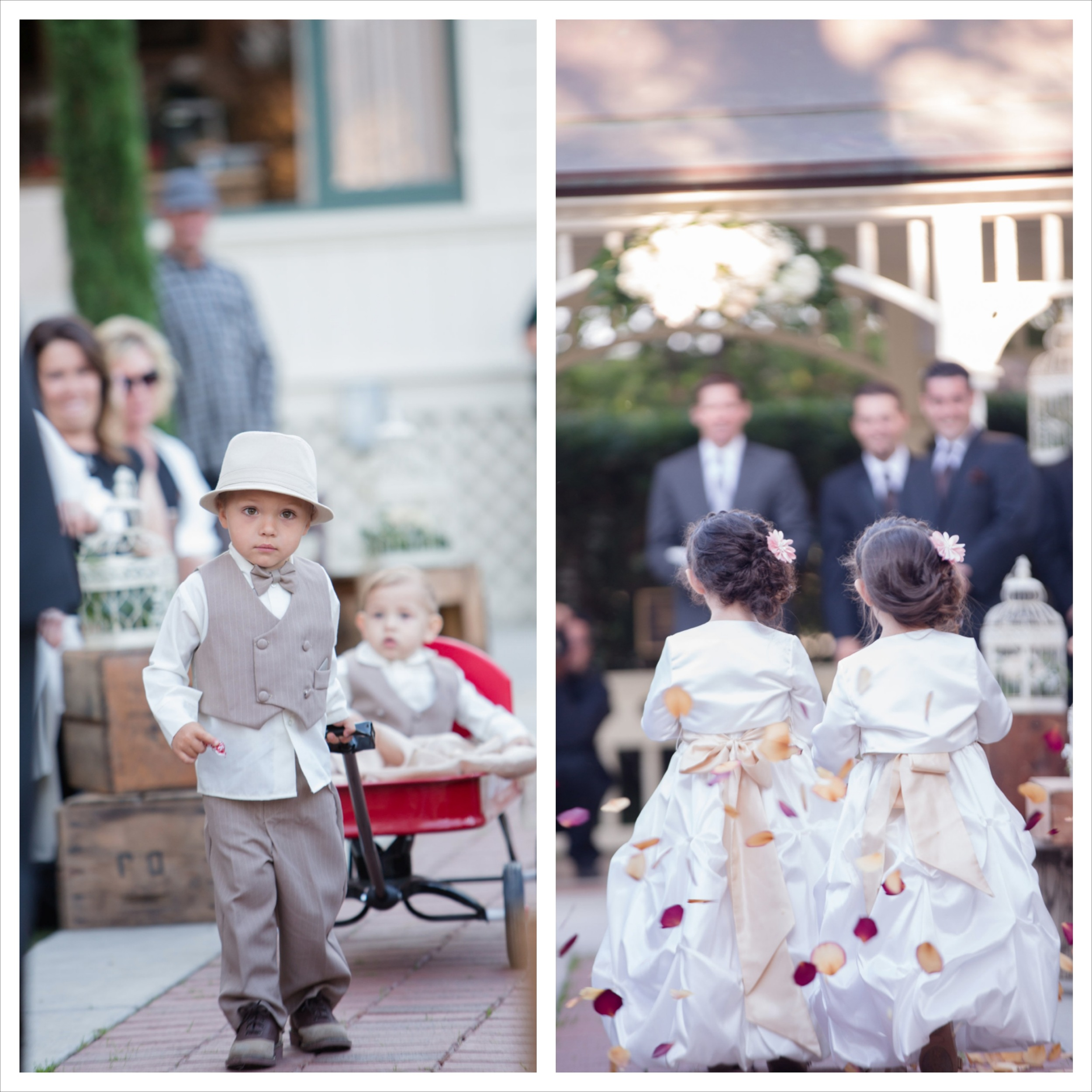 2 adorable ring bearers + 2 adorable flower girls = well....adorableness!!!  When family is a central focus of your wedding always consider including the next generation into your bridal party.  They usually make for some of the best moments in a wedding.  Photo By:  Fortuna Photography   Venue:  Camarillo Ranch House