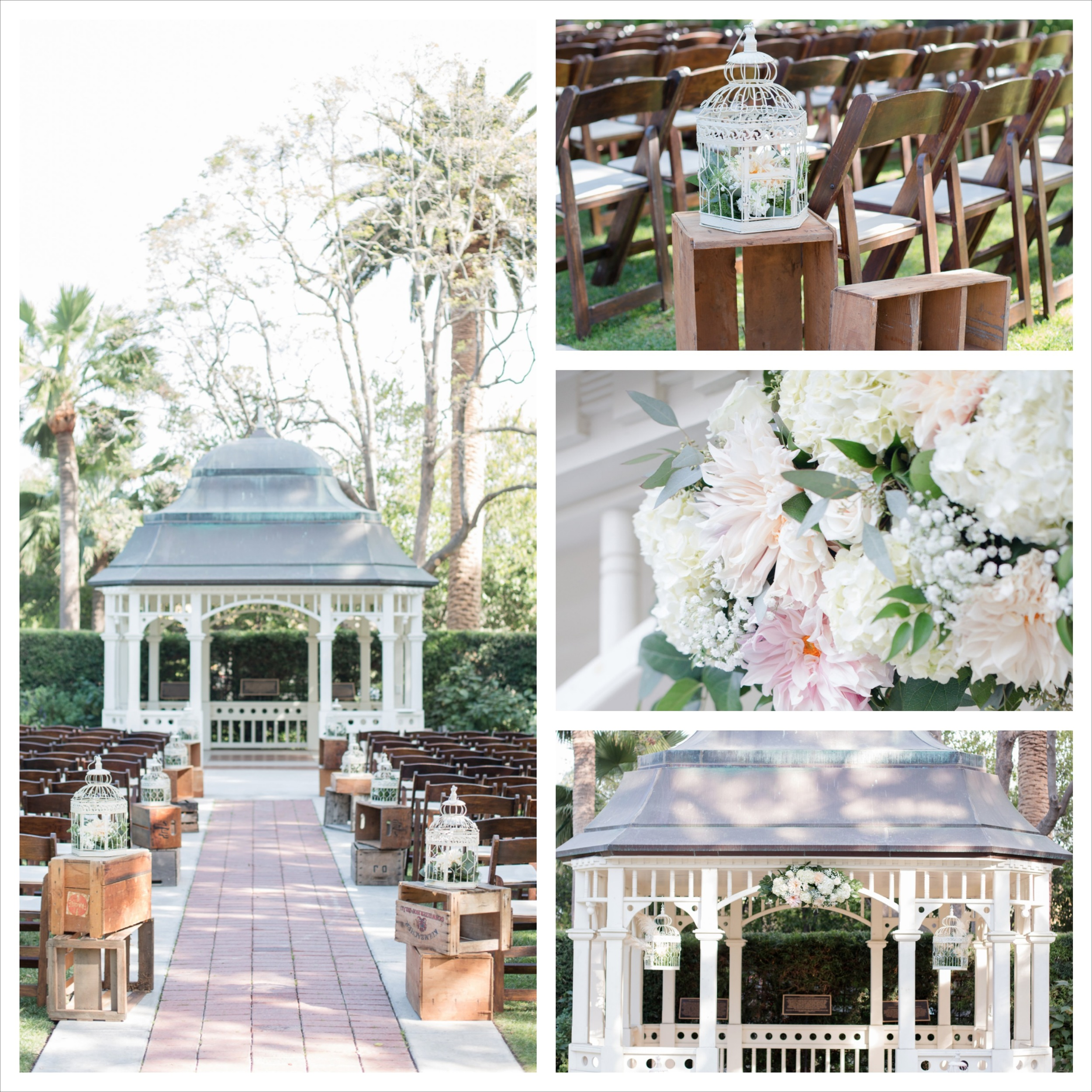 Vintage crates, birdcages and a gazebo worked so well together in this space.  It lent just the right amount of decor to set the tone for the vintage wedding the bride loved without breaking the floral budget.   Photo By:  Fortuna Photography   Venue:  Camarillo Ranch House