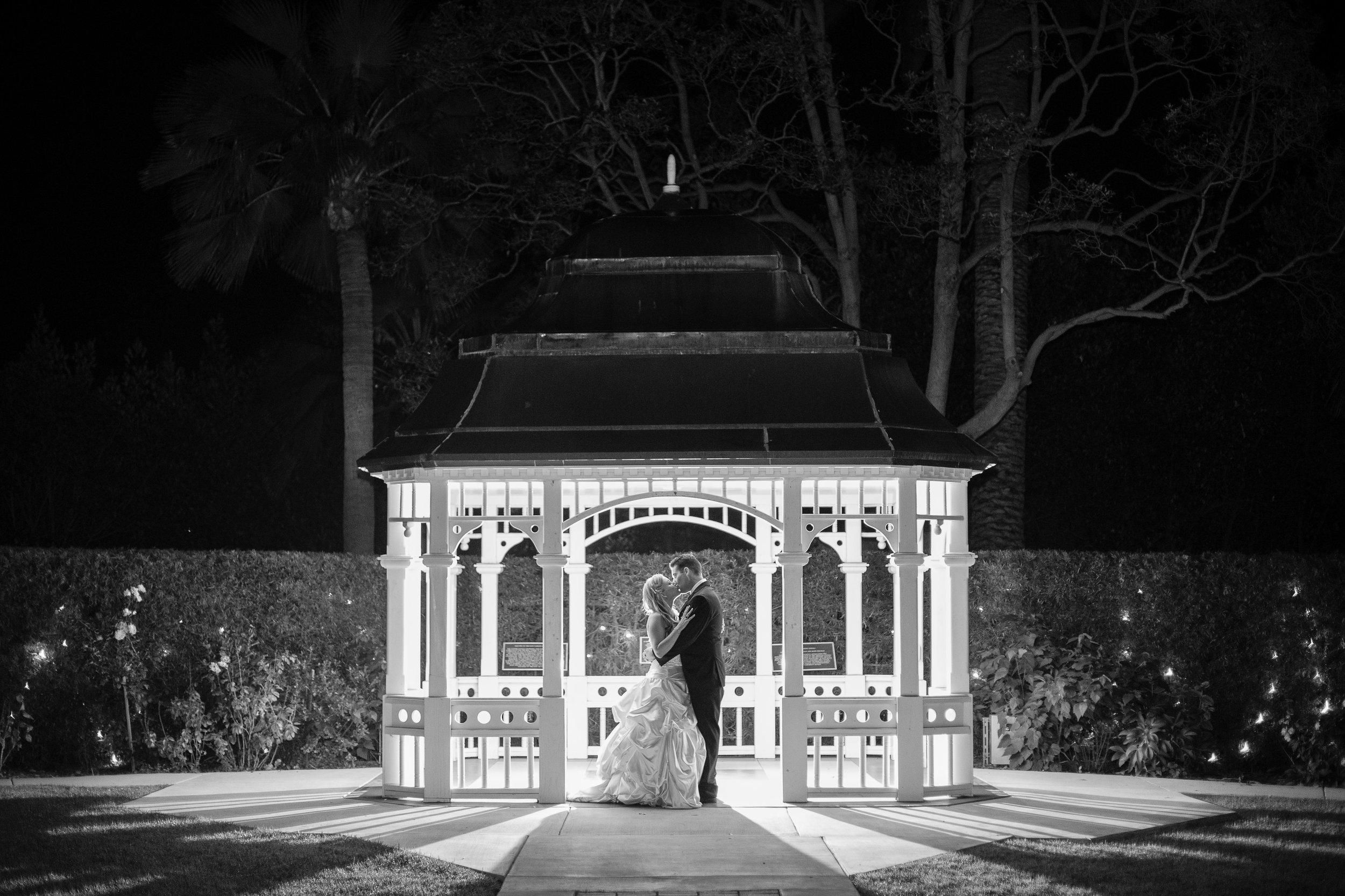 I always recommend that my couples get some black and white photos done.  Taken at the right time they can be quite dramatic like my bide and groom sneaking away to take a moment for themselves at the end of the night.  Photo By:  Fortuna Photography   Venue:  Camarillo Ranch House