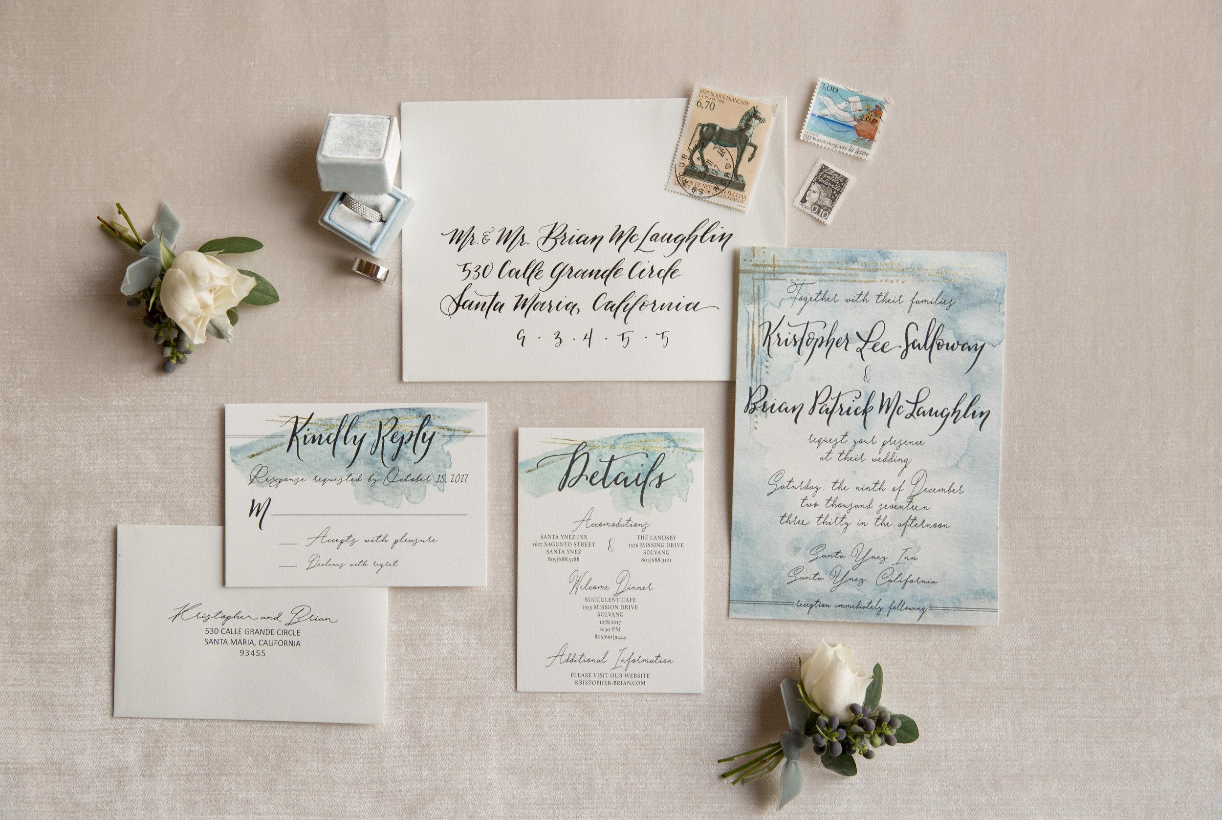 blue and white watercolor invitation suite