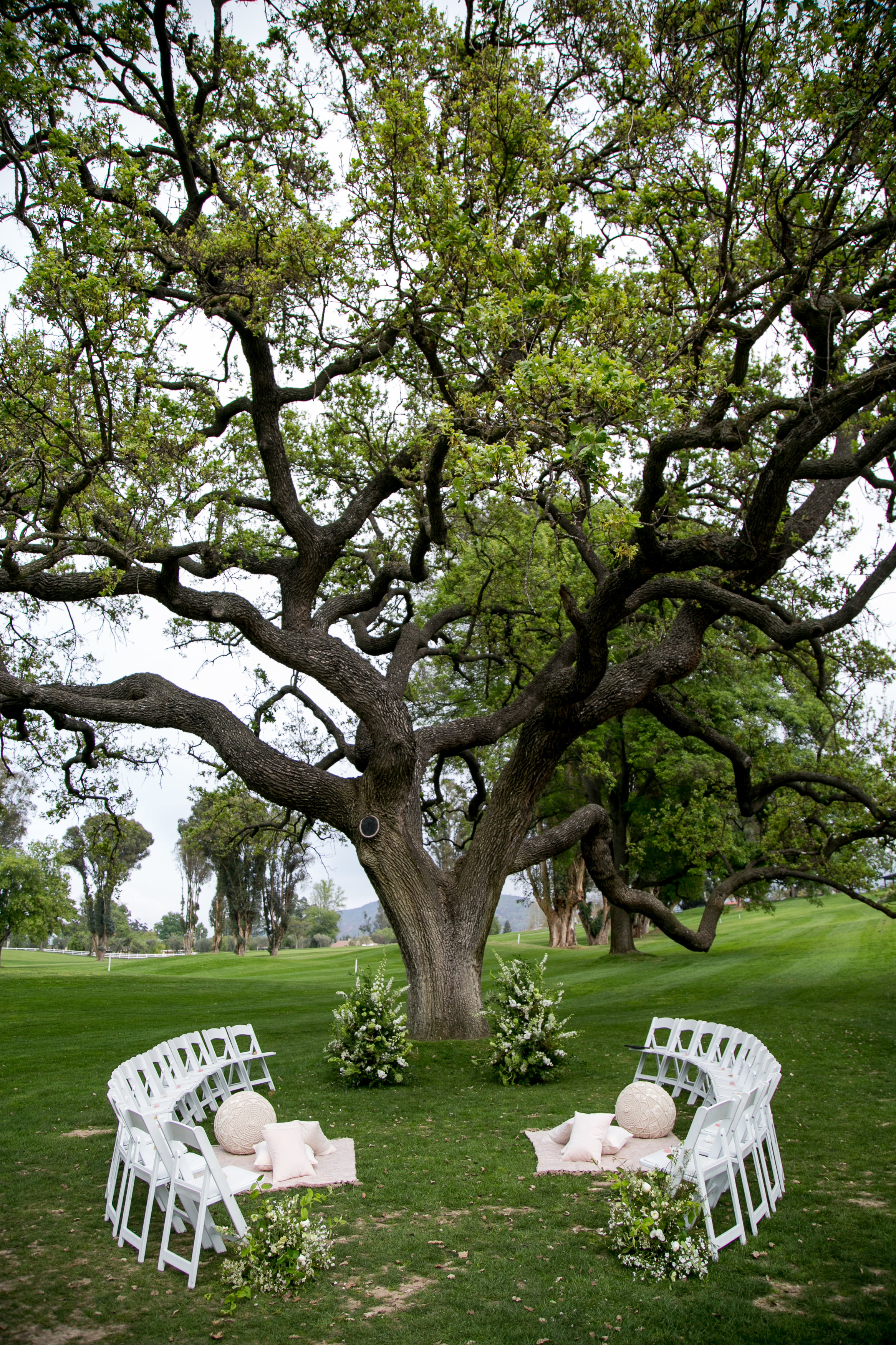 circular chair arrangement for intimate outdoor ceremony at Ojai Valley Inn
