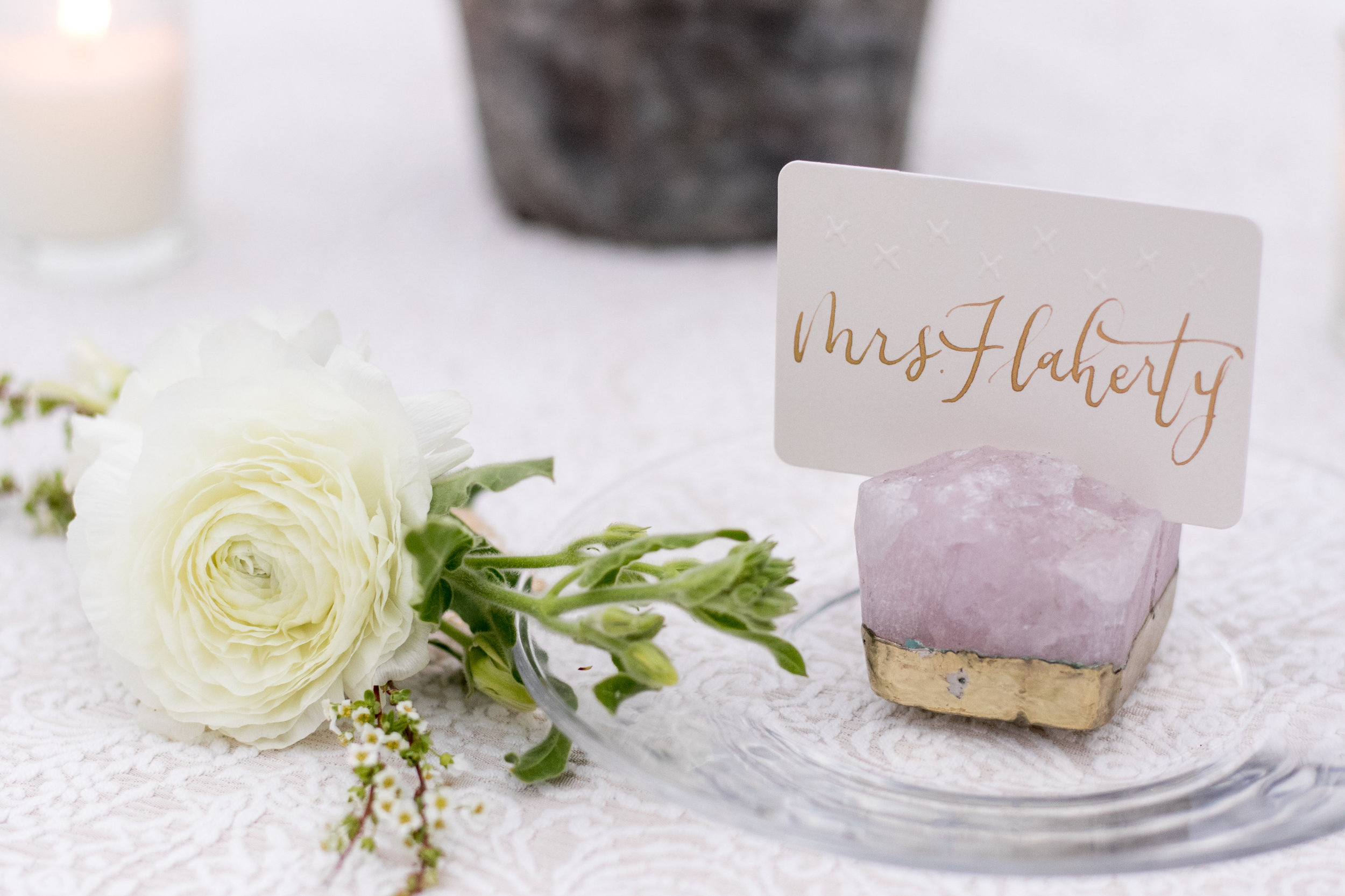 crystal place card holder