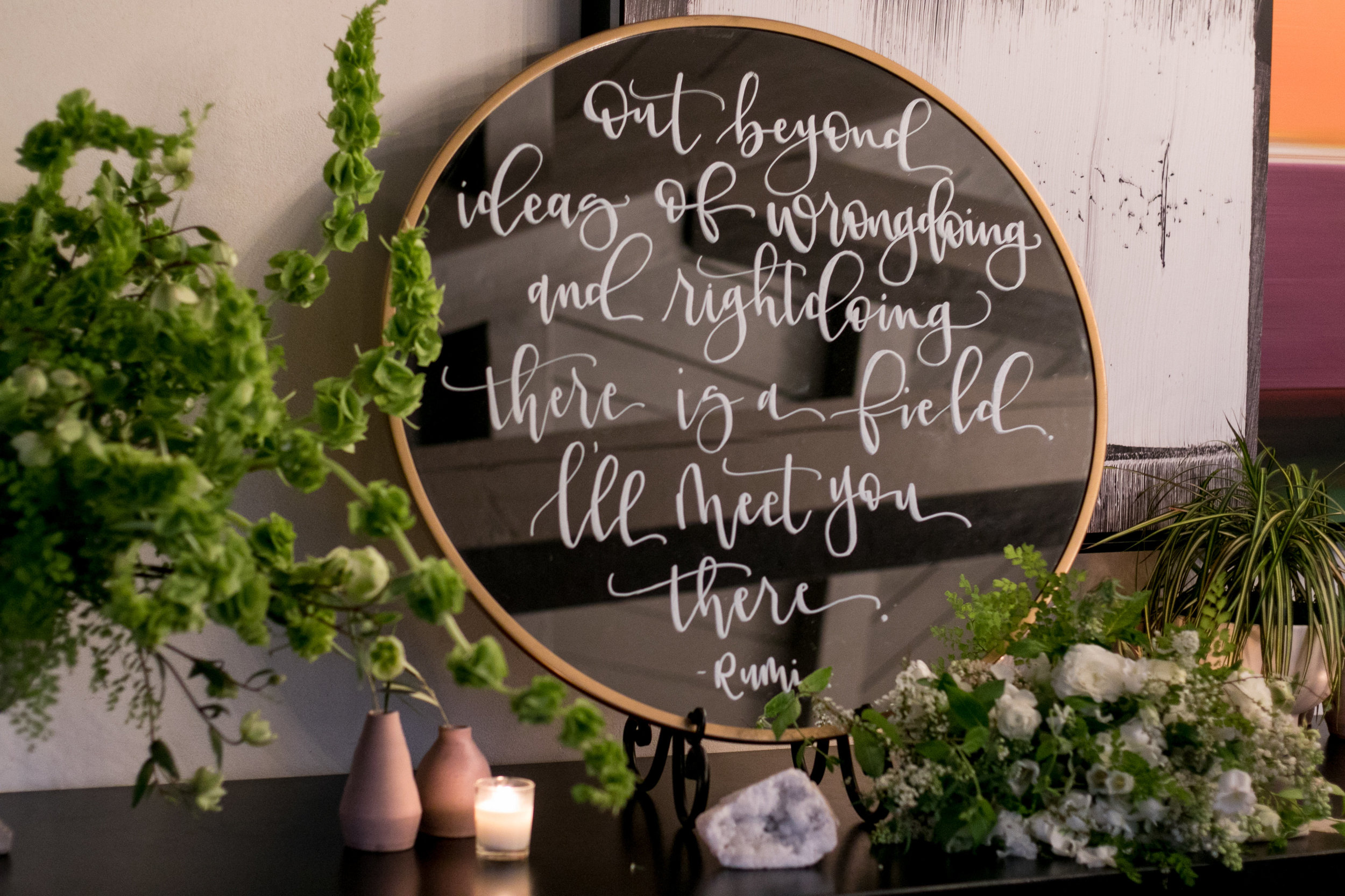 wedding quote calligraphy on modern mirror