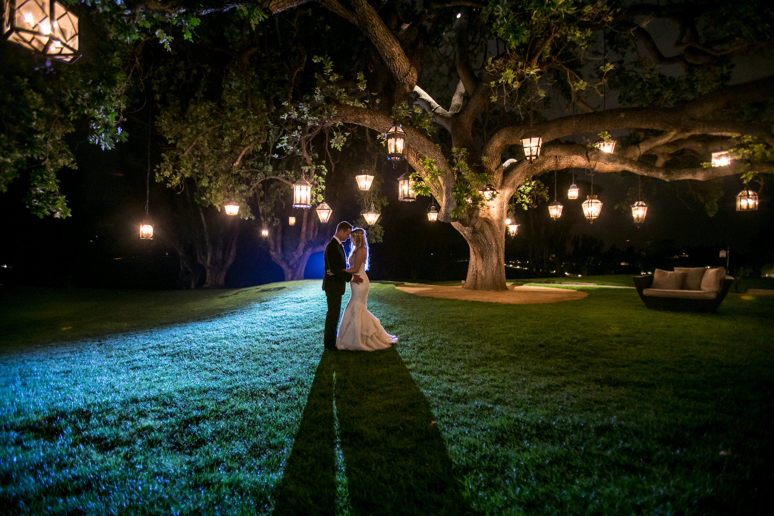 bride and groom nighttime photo