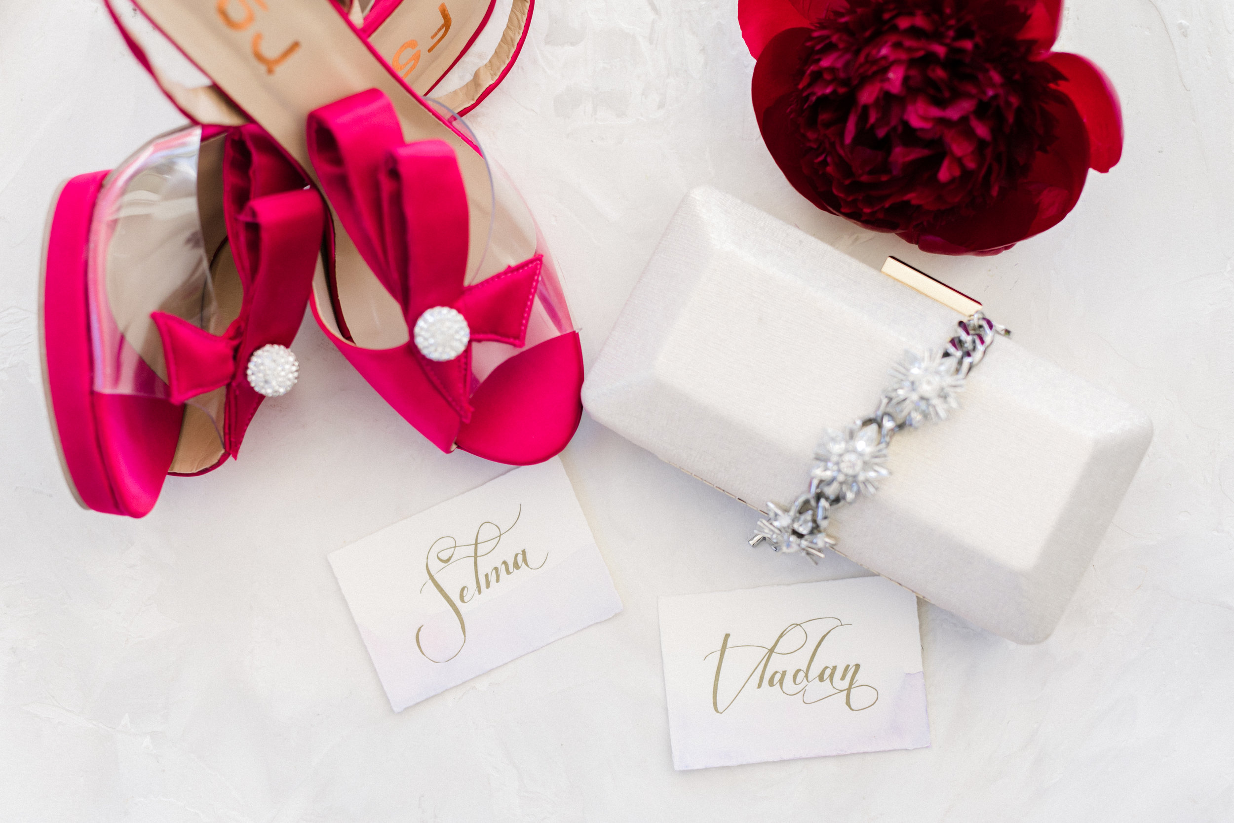 gold calligraphed escort cards