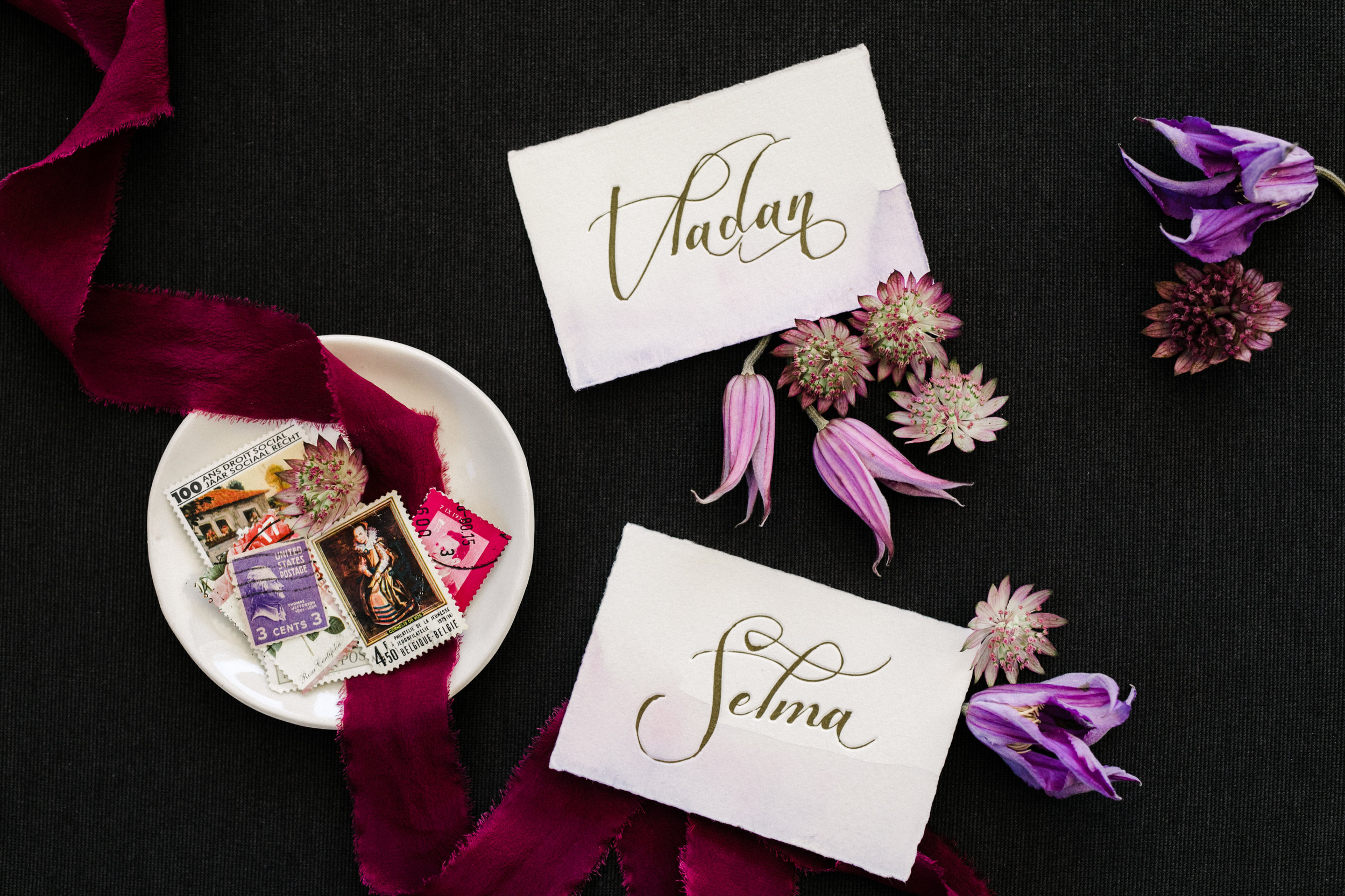 vintage postage stamps and escort cards