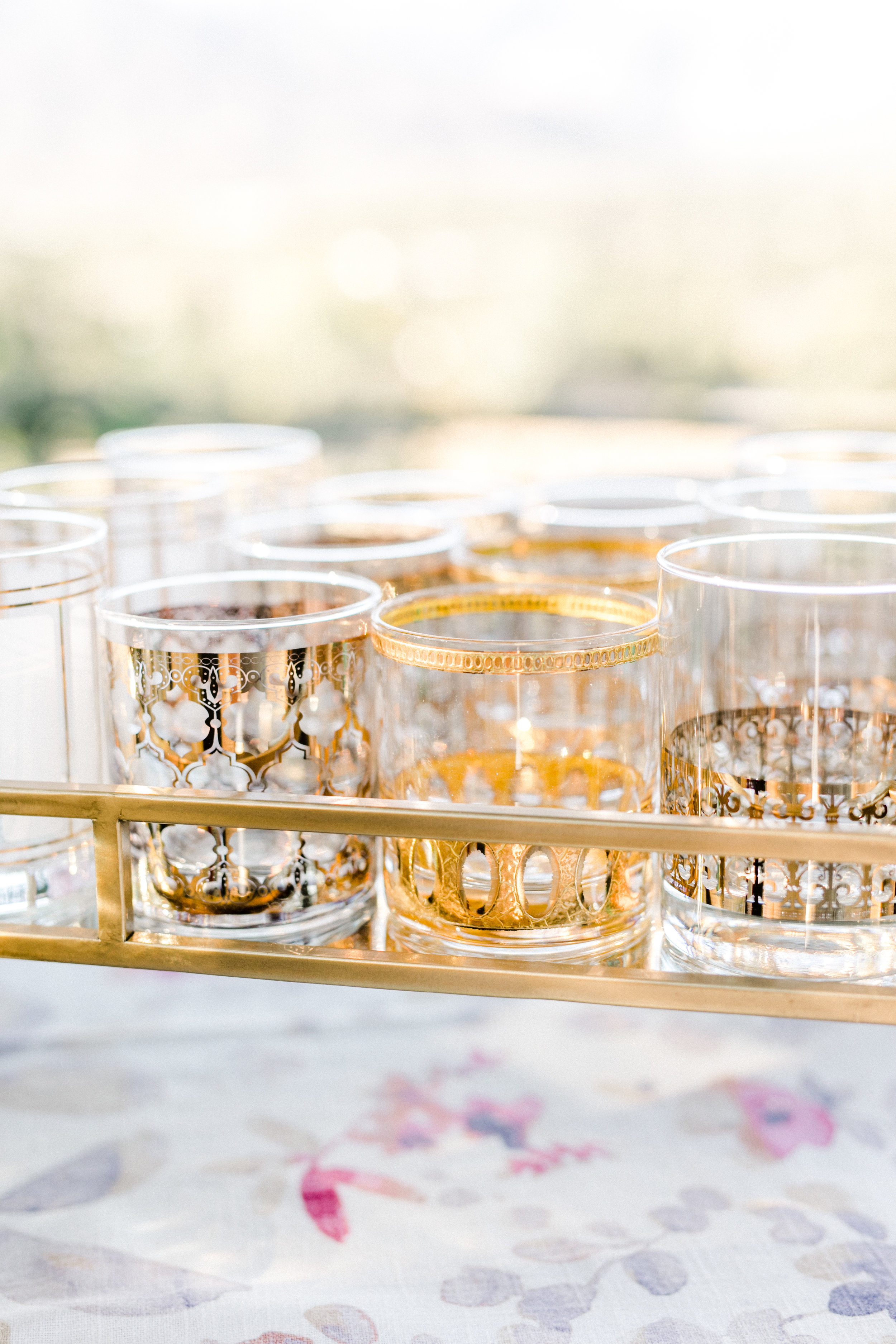 gold-patterned cocktail glasses