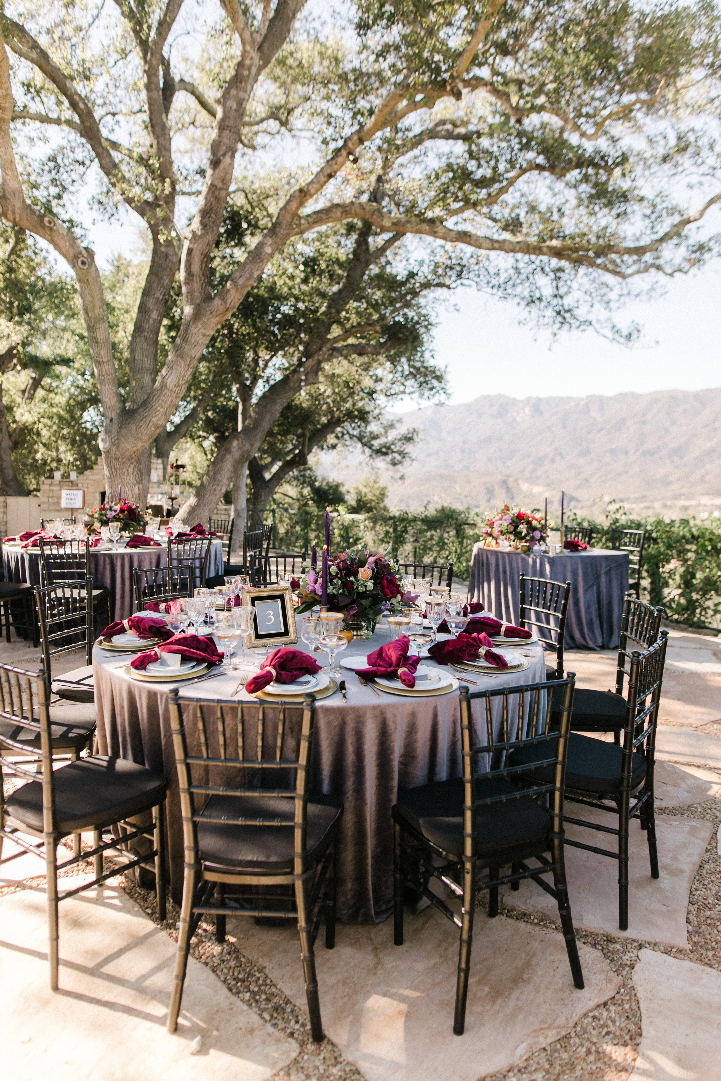 moody outdoor reception tables