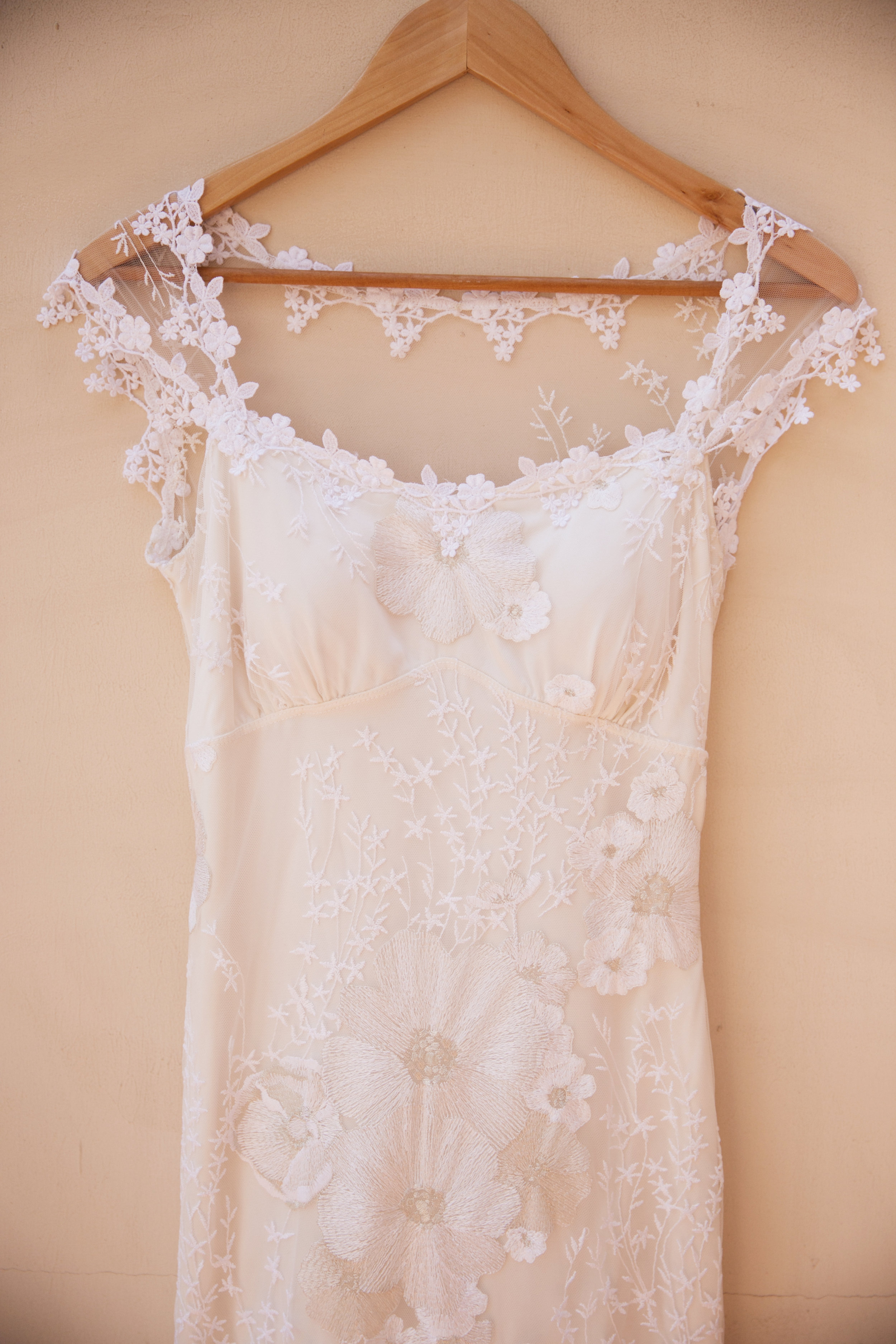 floral appliqué wedding dress