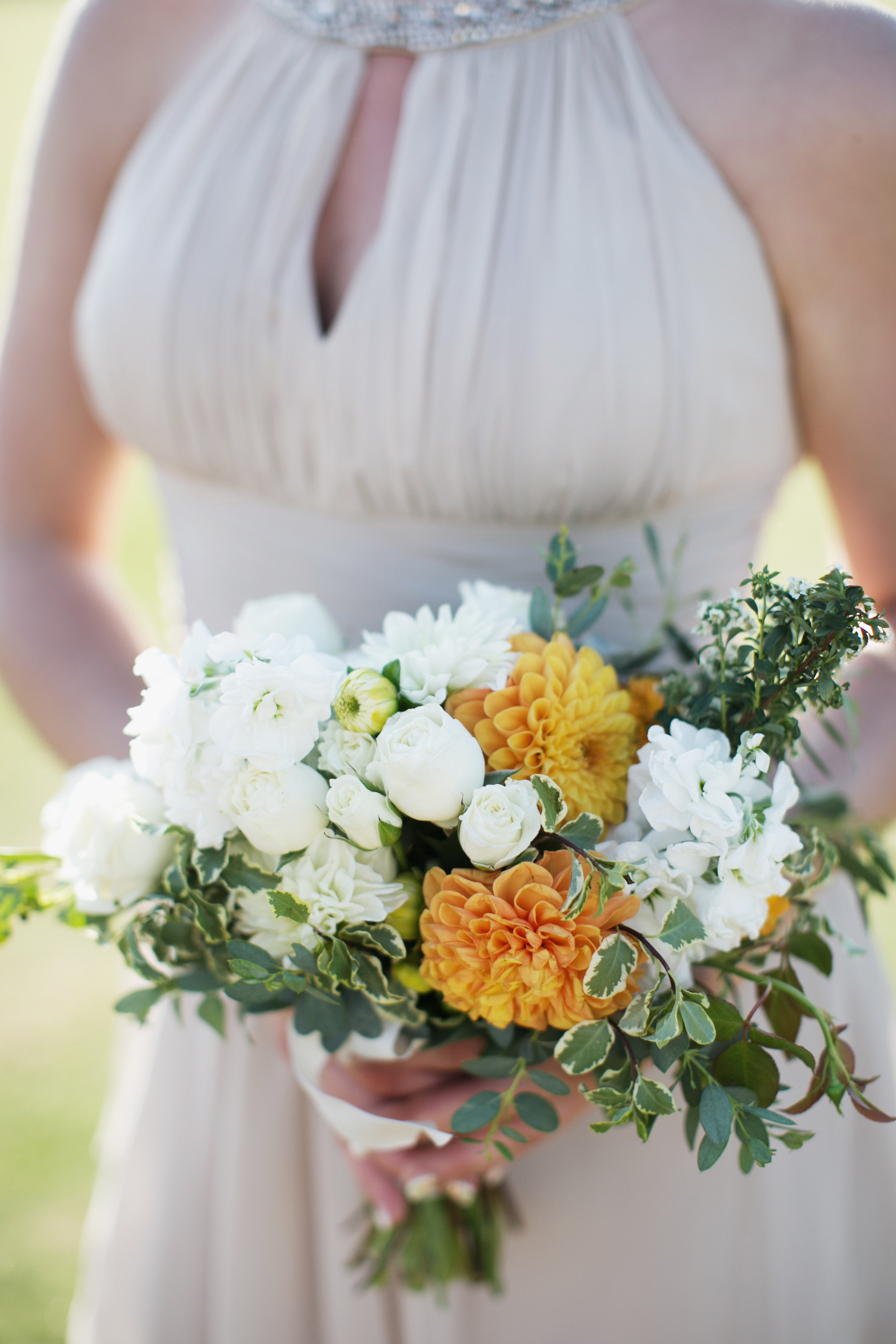 orange and white bridesmaid bouquet