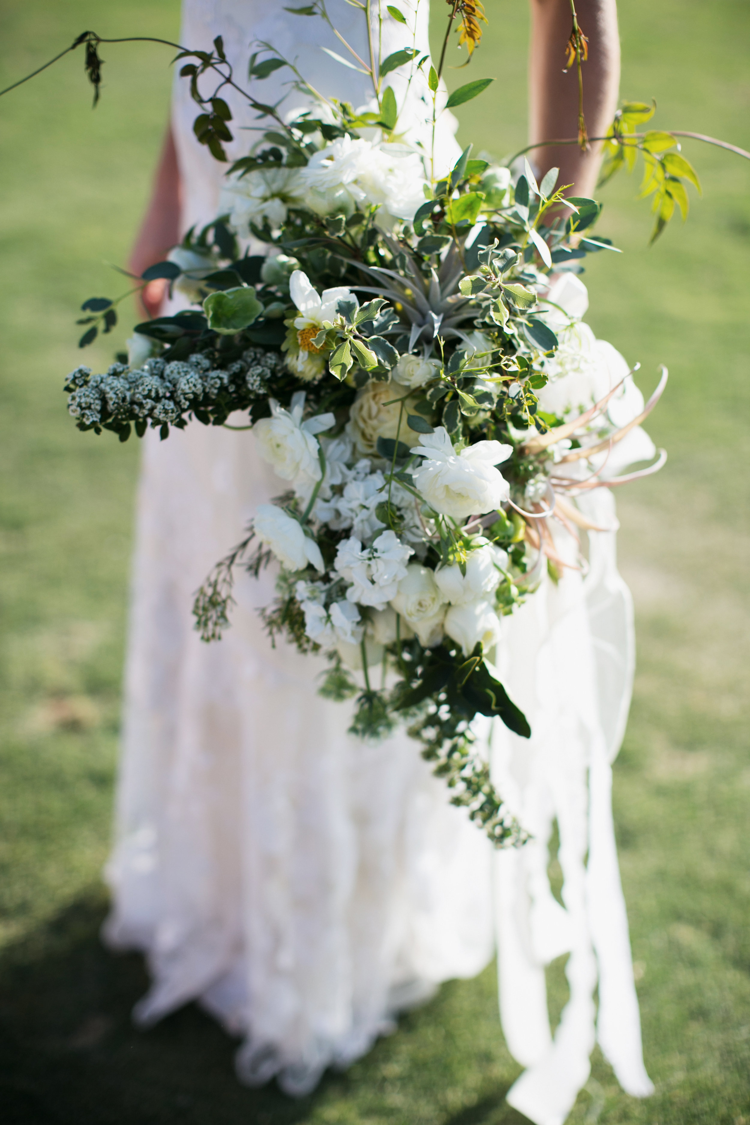 large organic green and white bridal bouquet