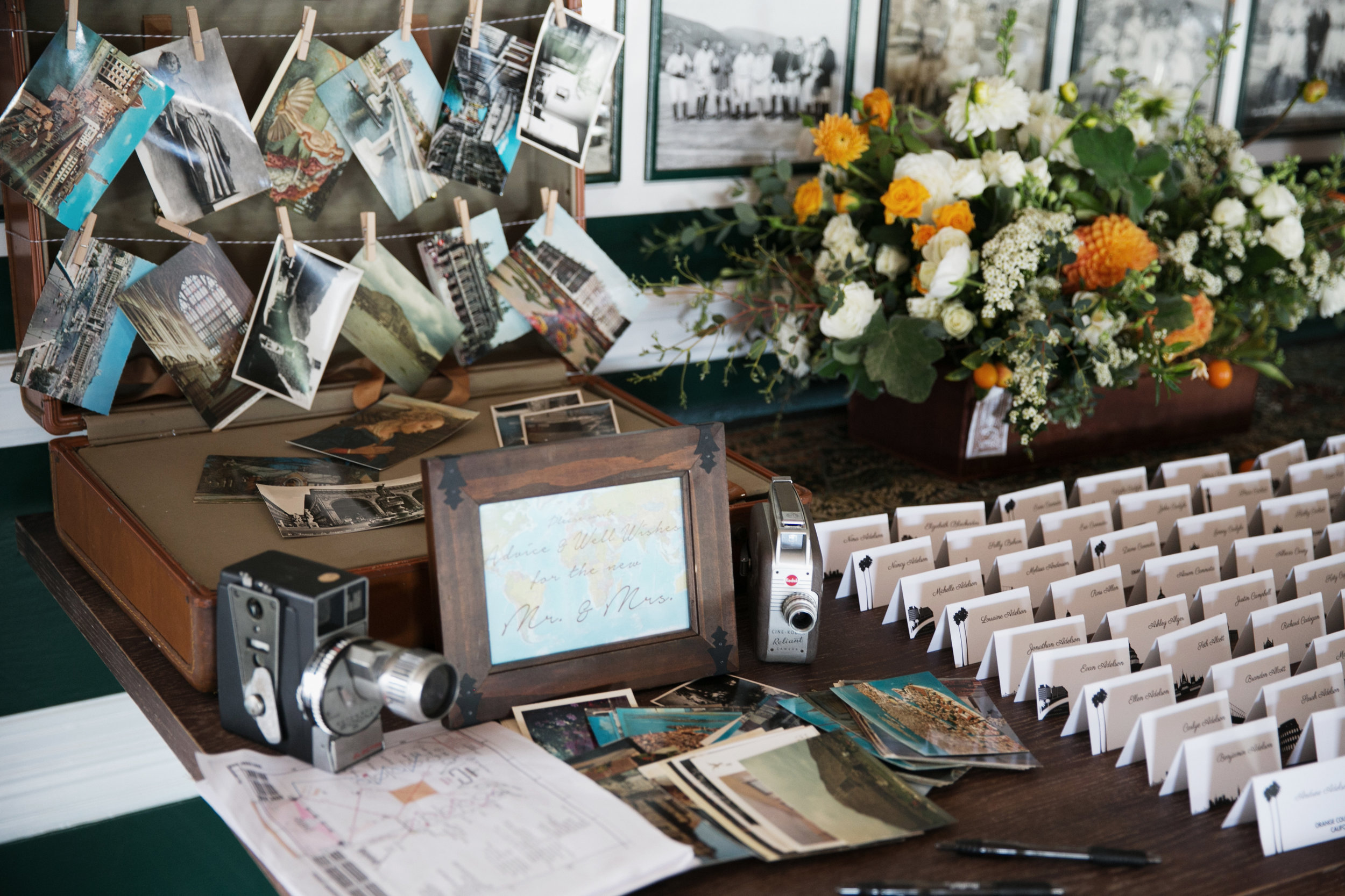 travel-themed escort card table
