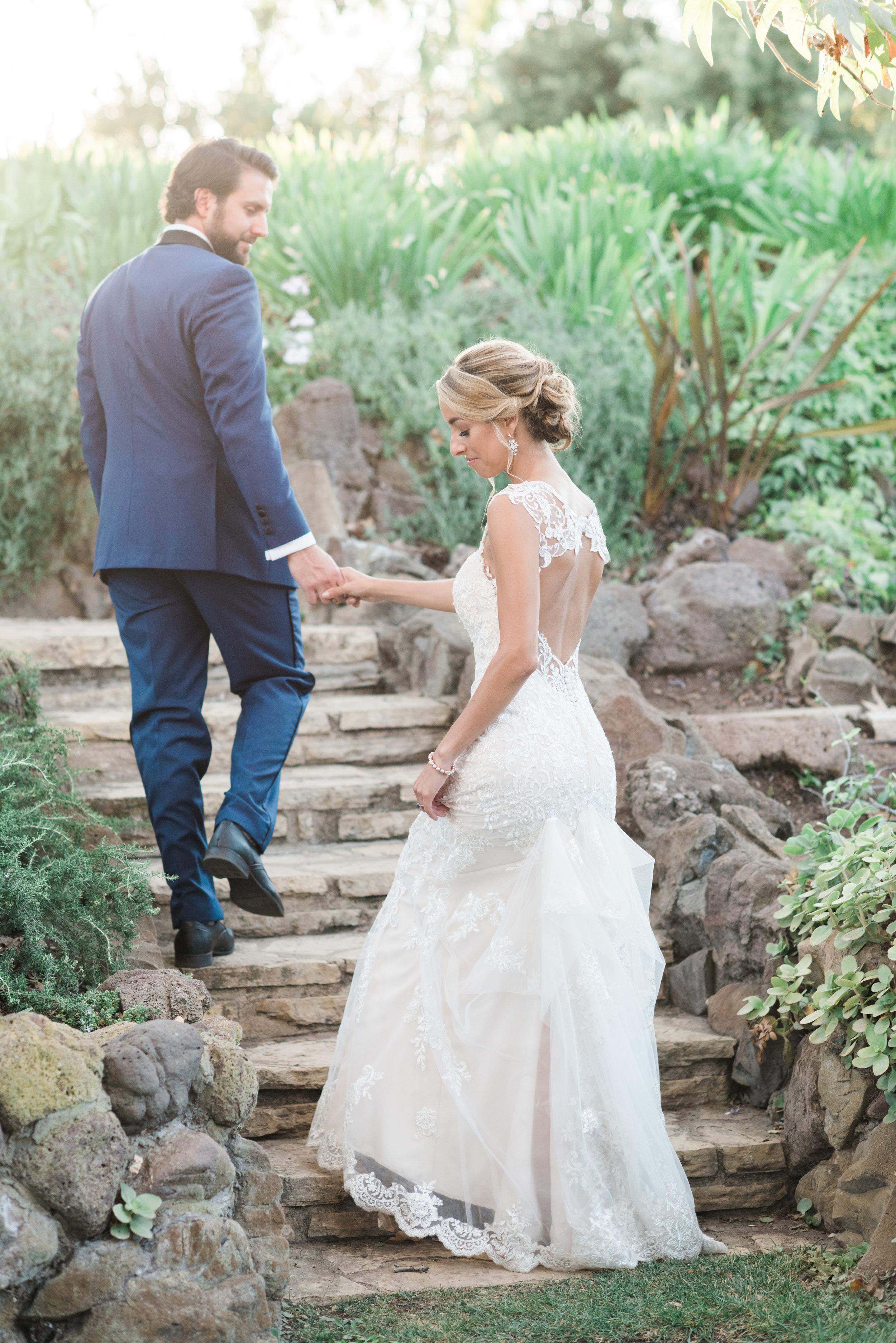 bride and groom garden portrait