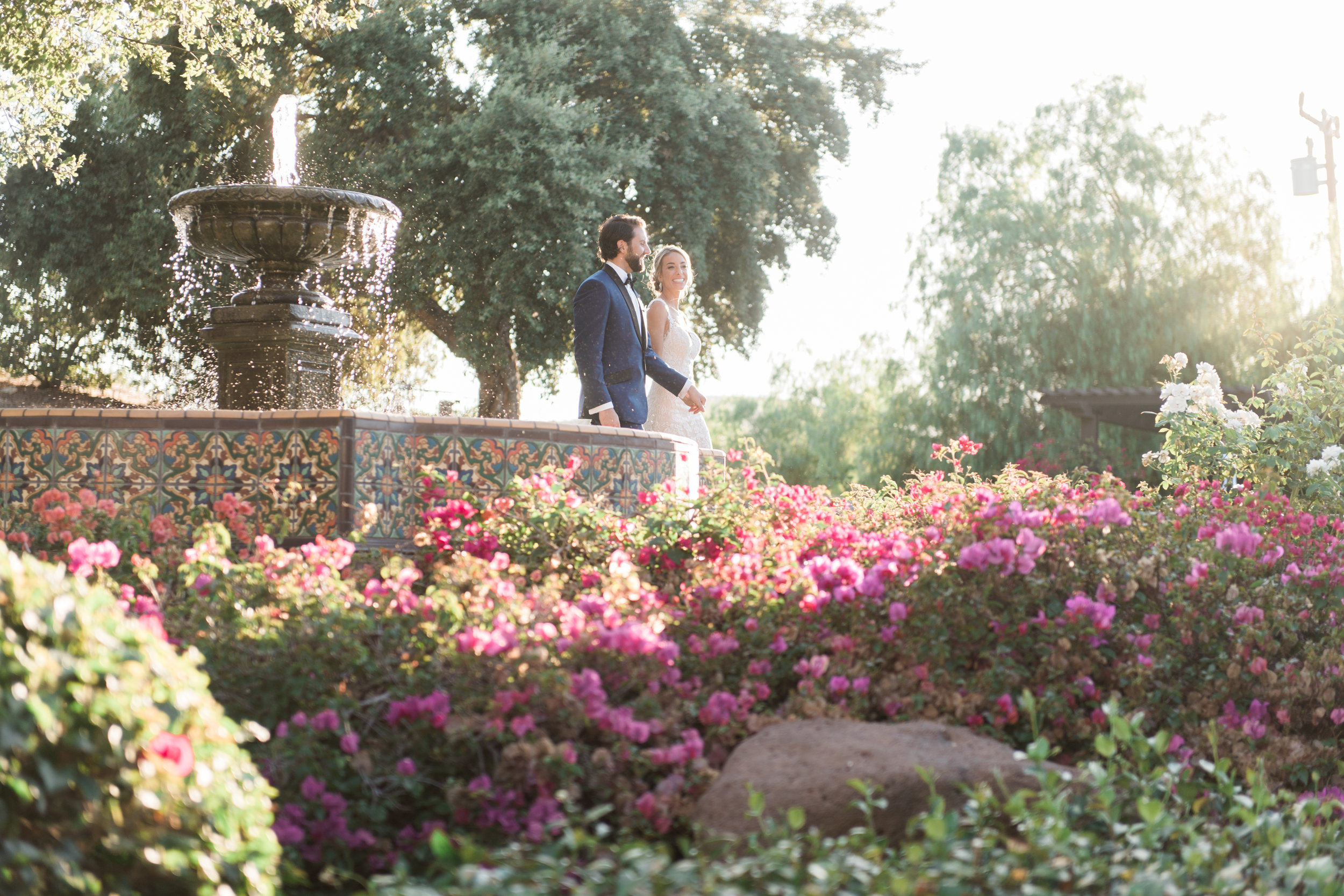 bride and groom golden hour garden stroll