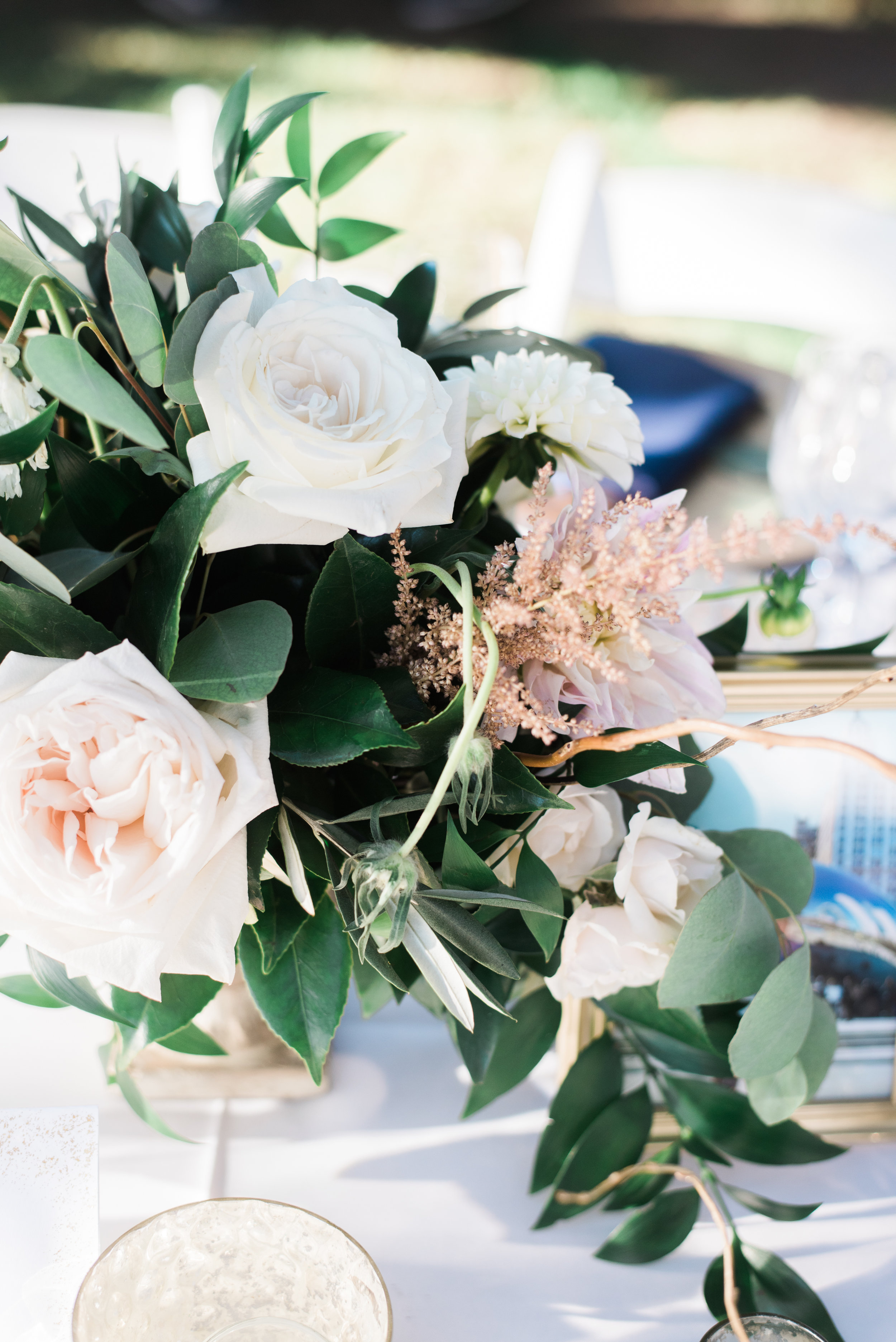 ivory and blush florals with greenery