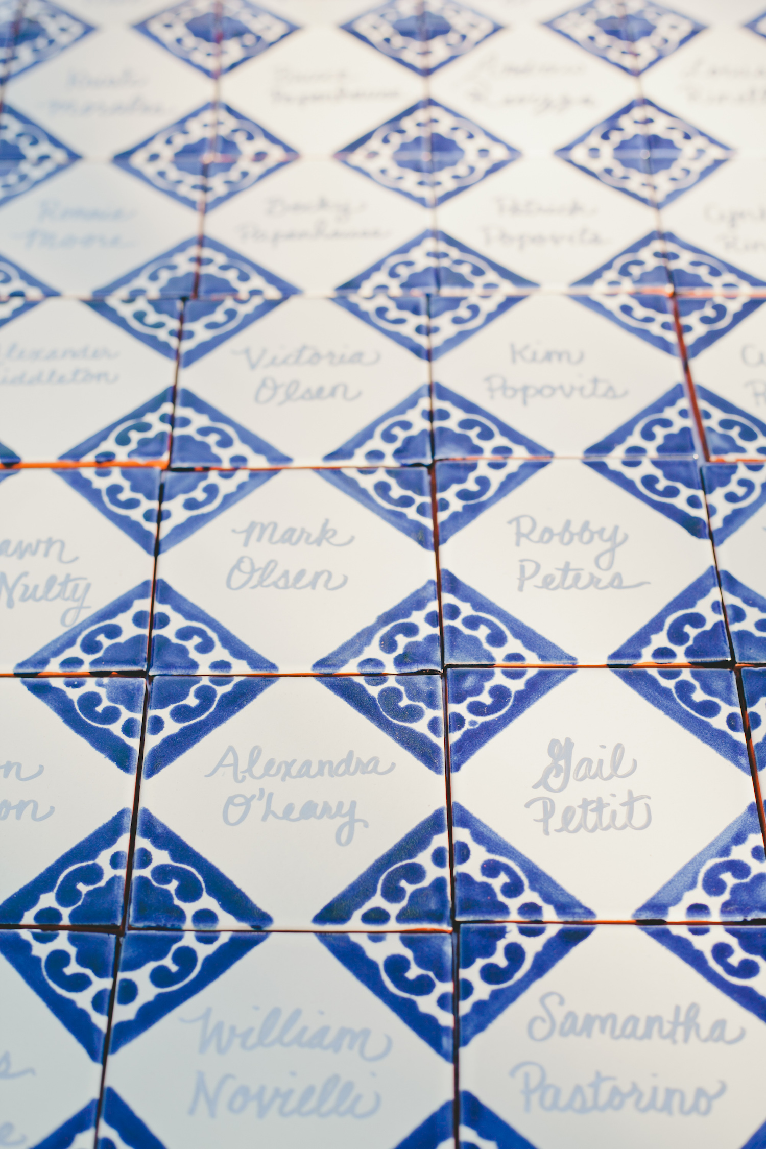 hand-painted tile escort cards