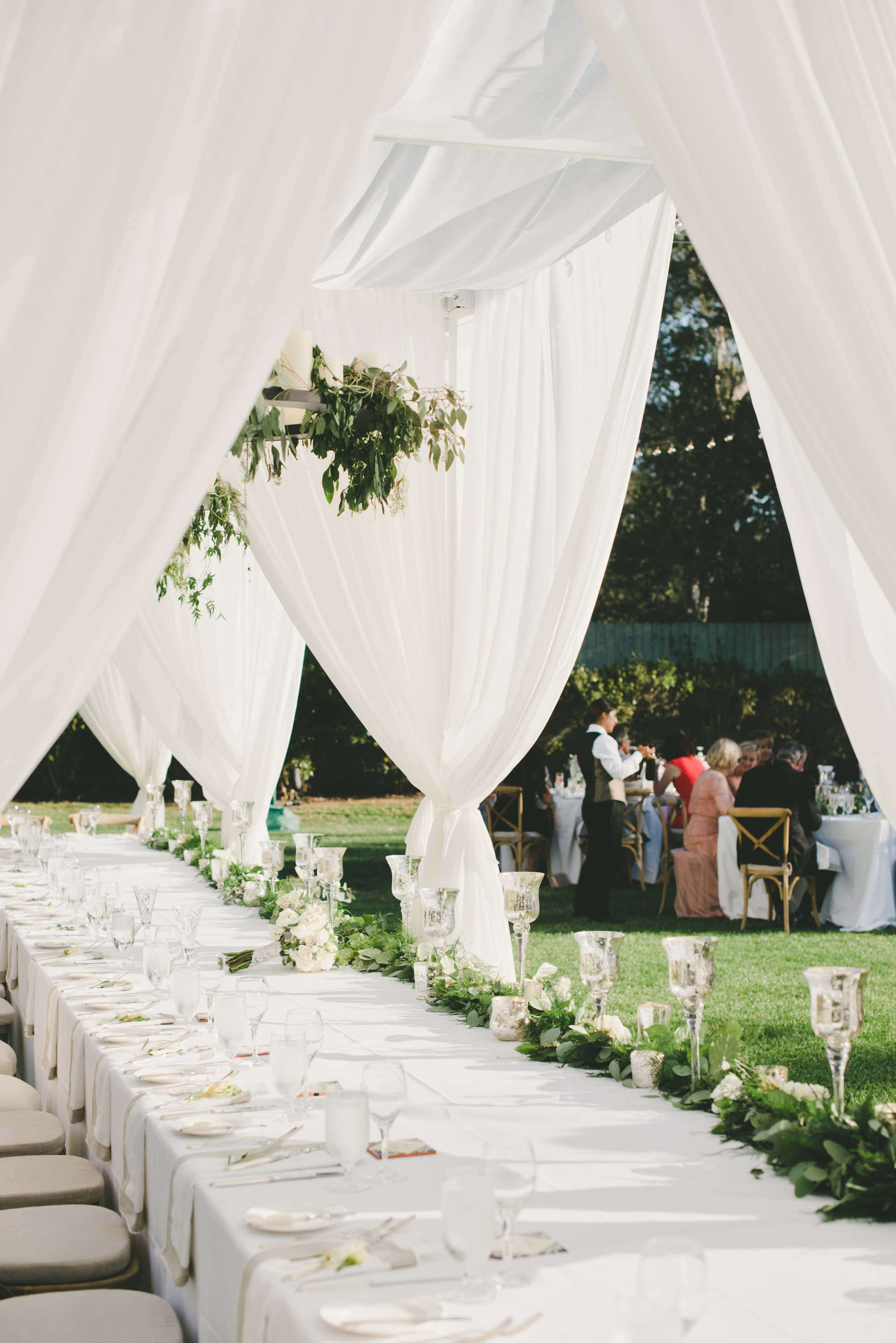 elegant neutrals outdoor reception